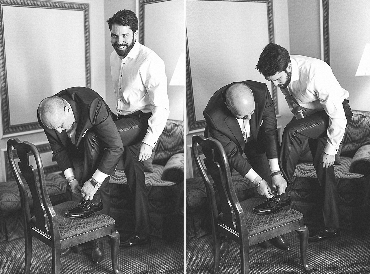 Father of Bride ties shoes