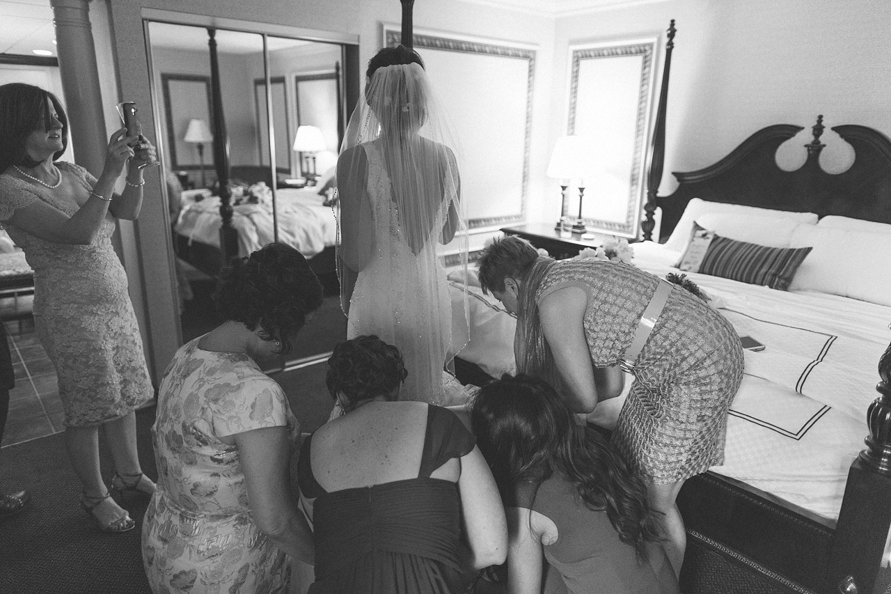 Getting the dress ready