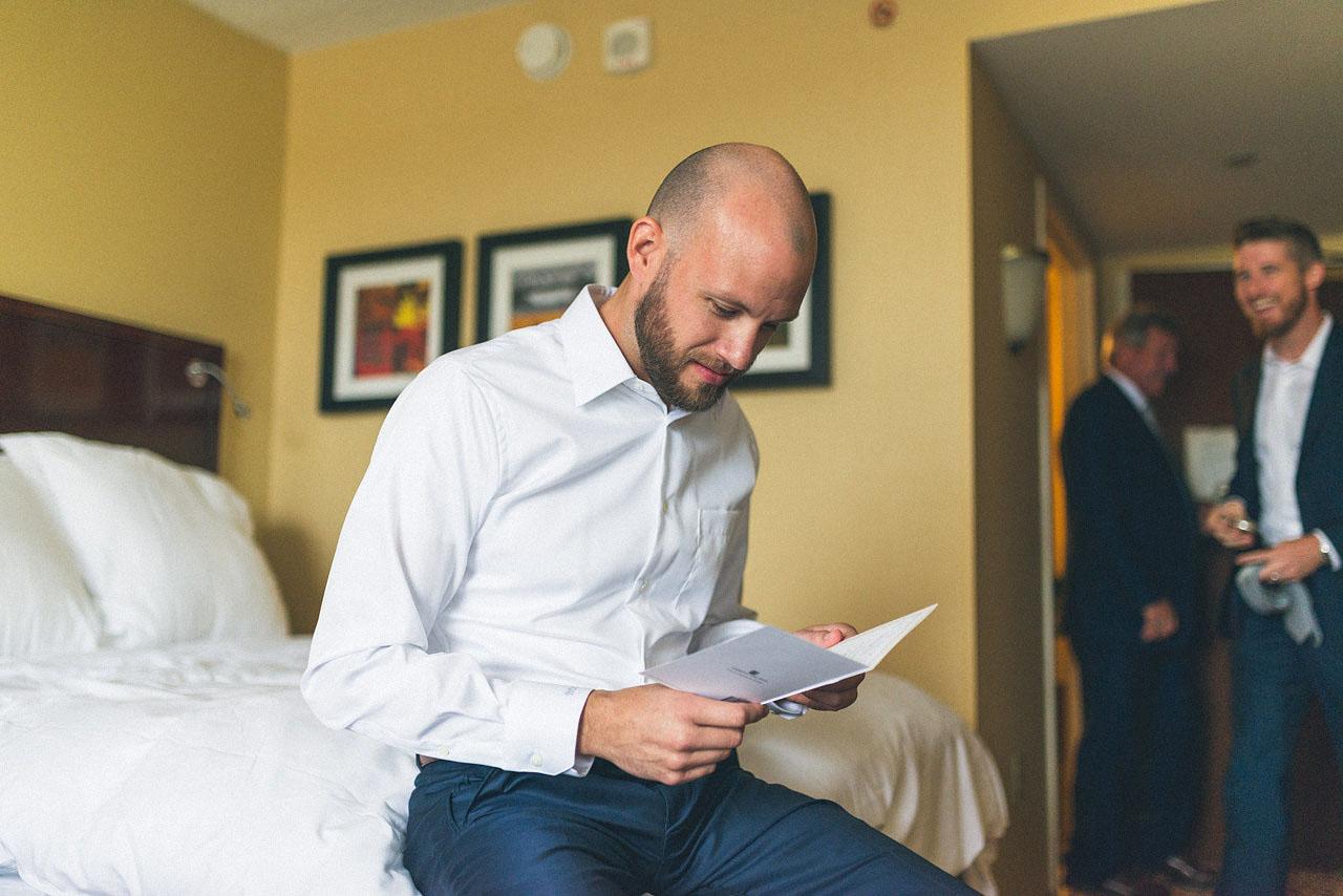 Groom reads letter