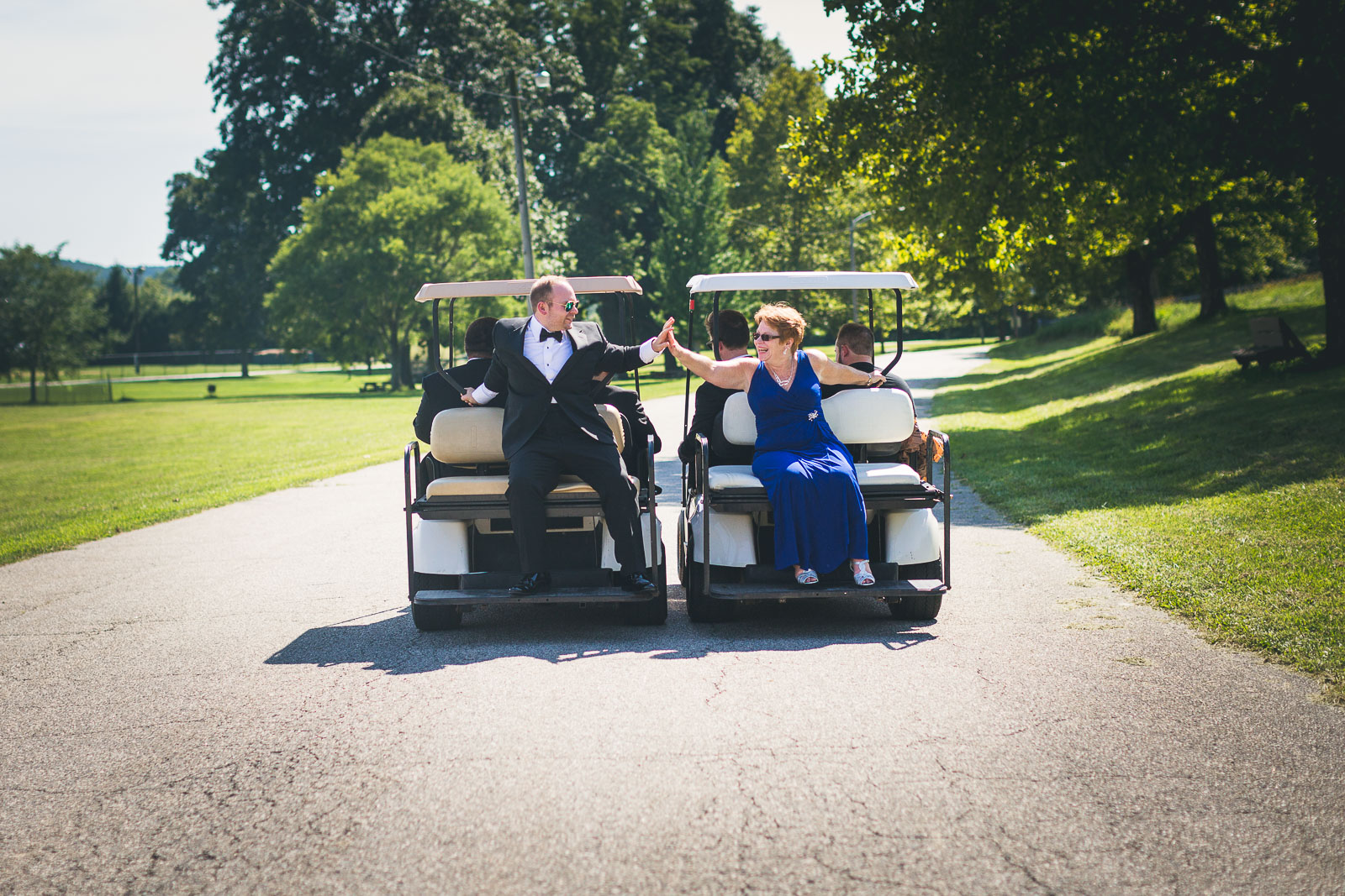 Groom and Mom going for a ride