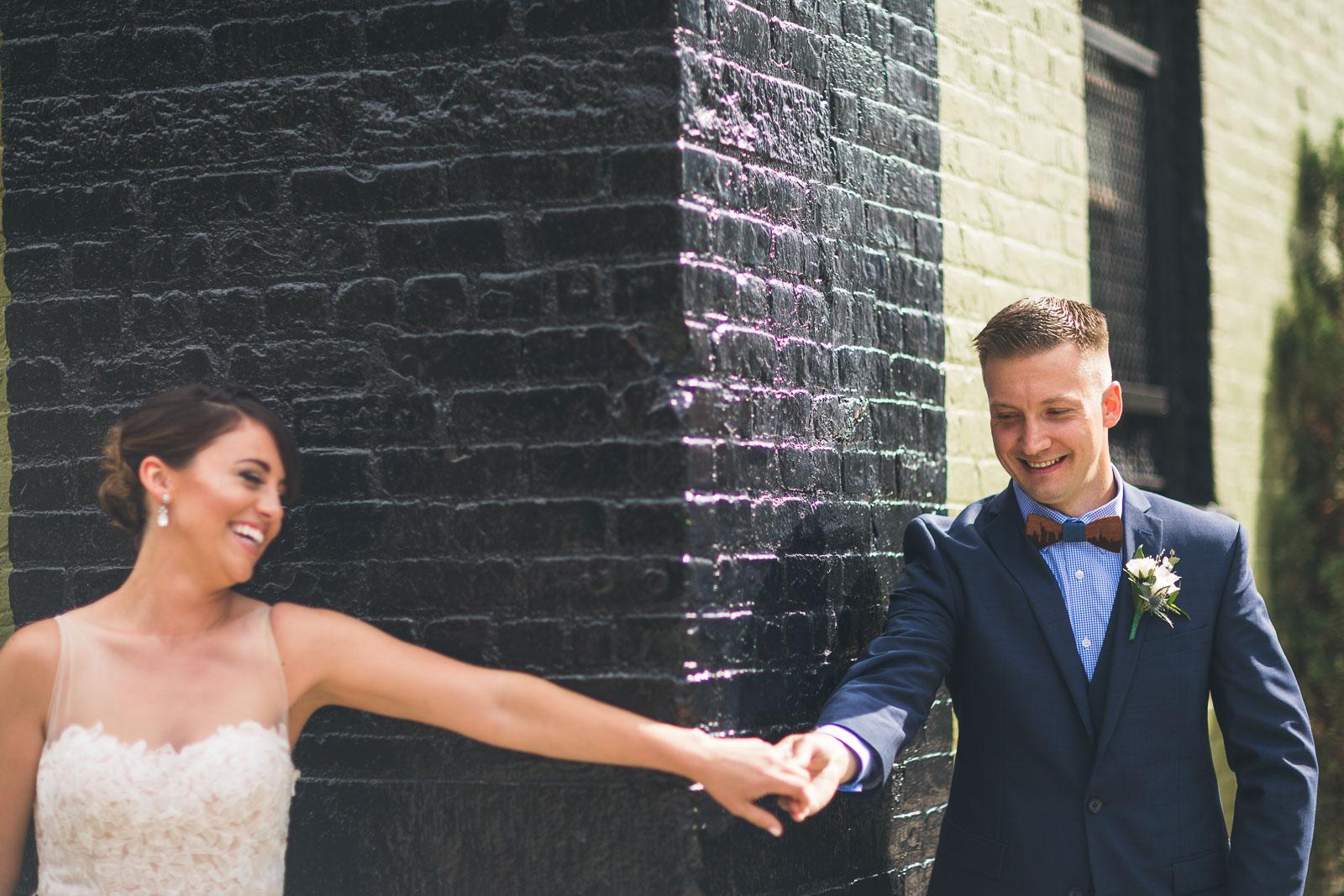 First Look Green Building Brooklyn Wedding