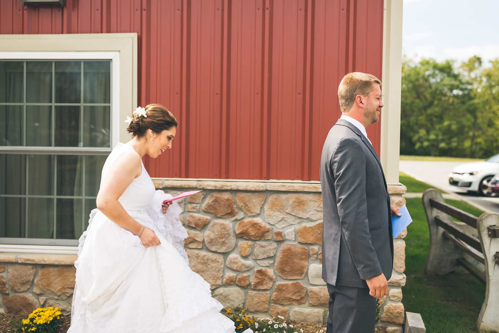 Bride approaches groom