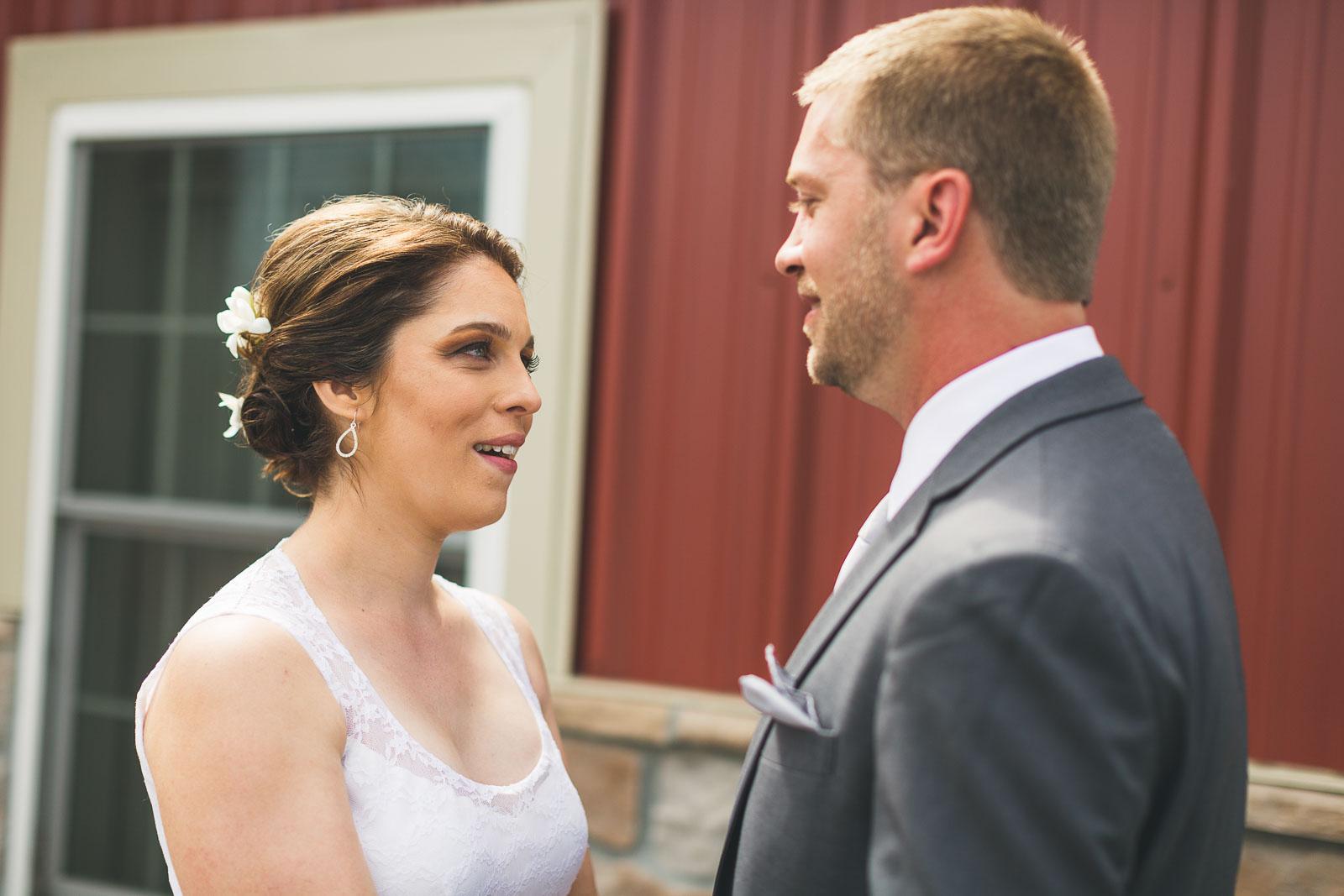 Bride admires Groom
