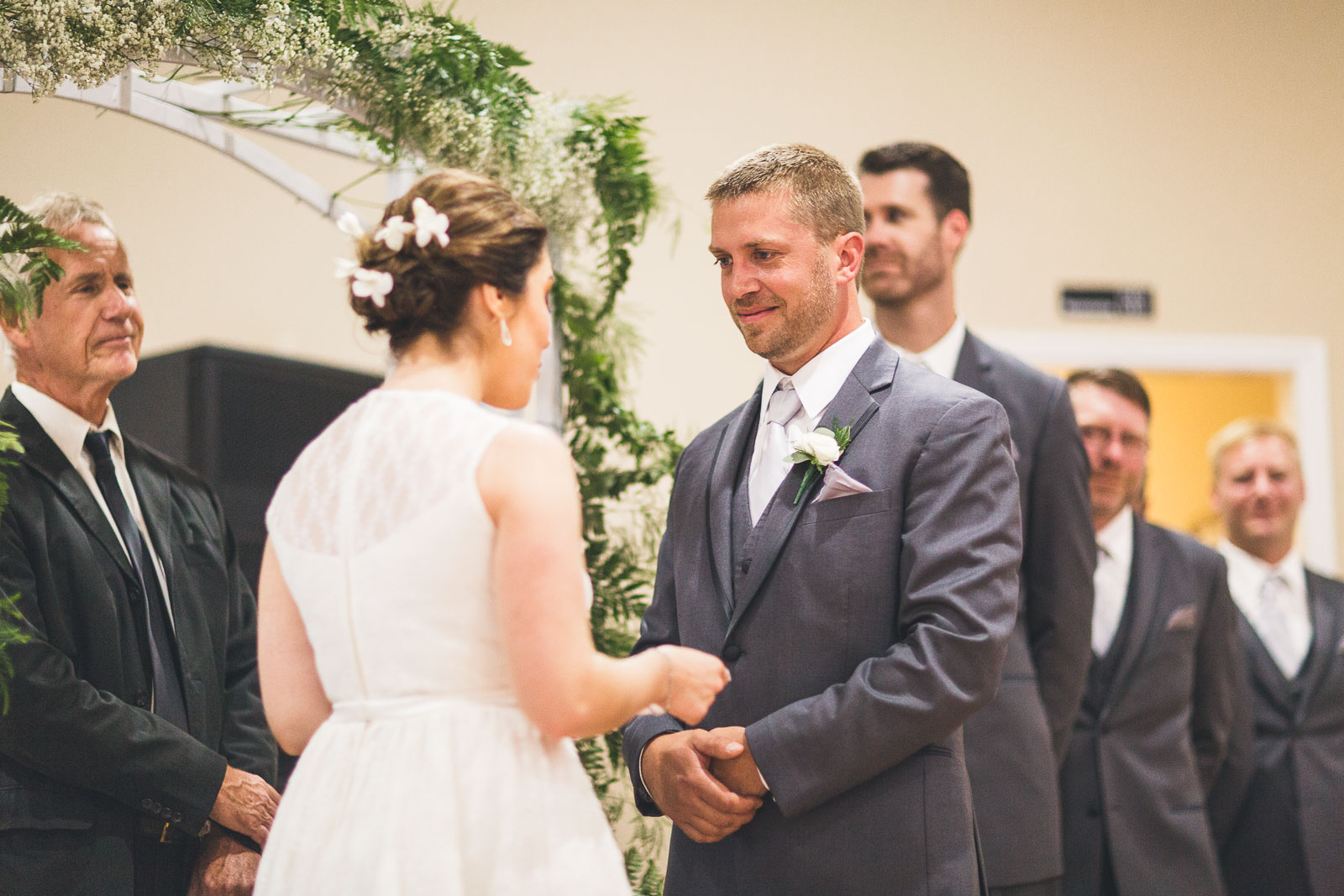Bride reads vows to groom