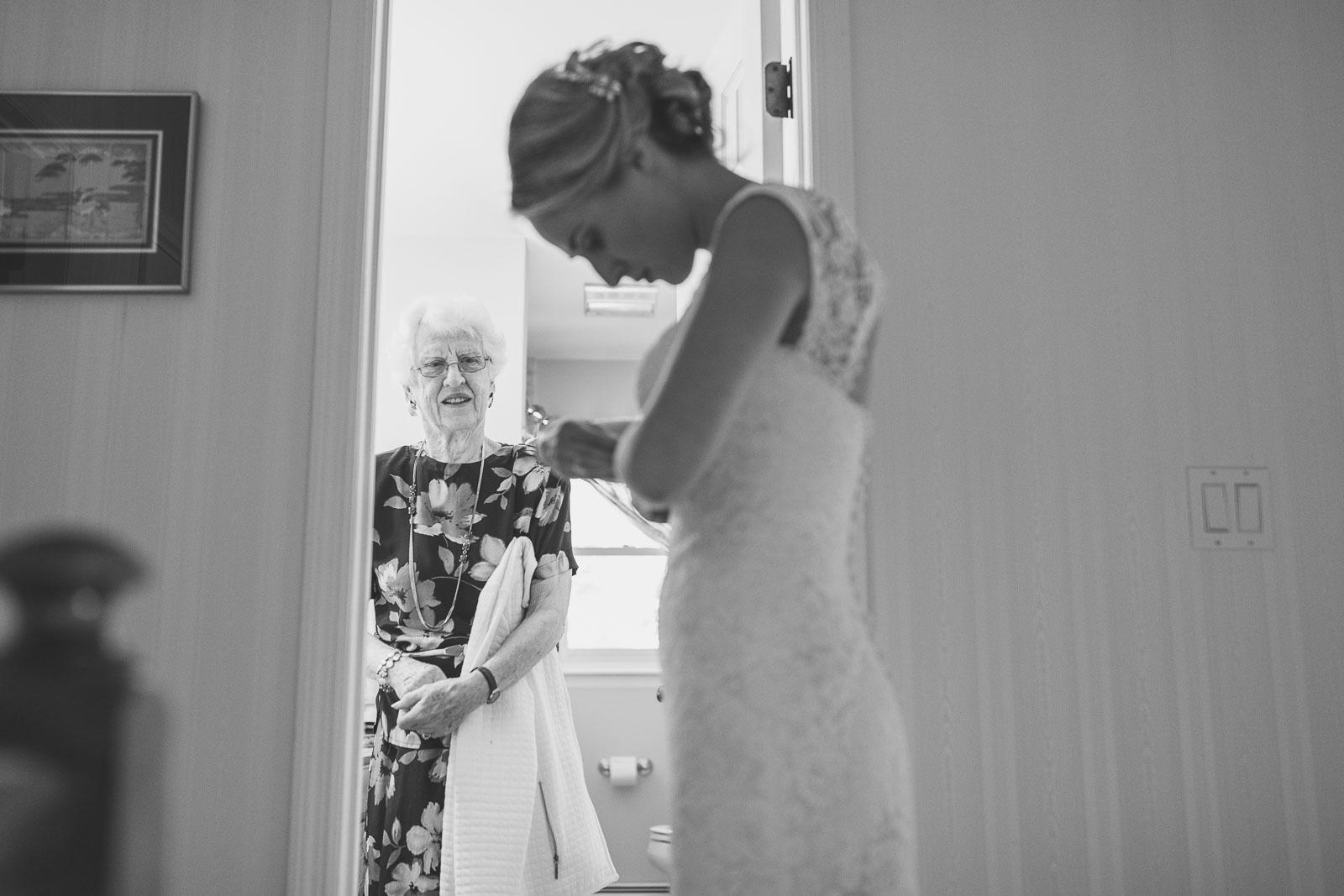 Grandma watching bride get ready
