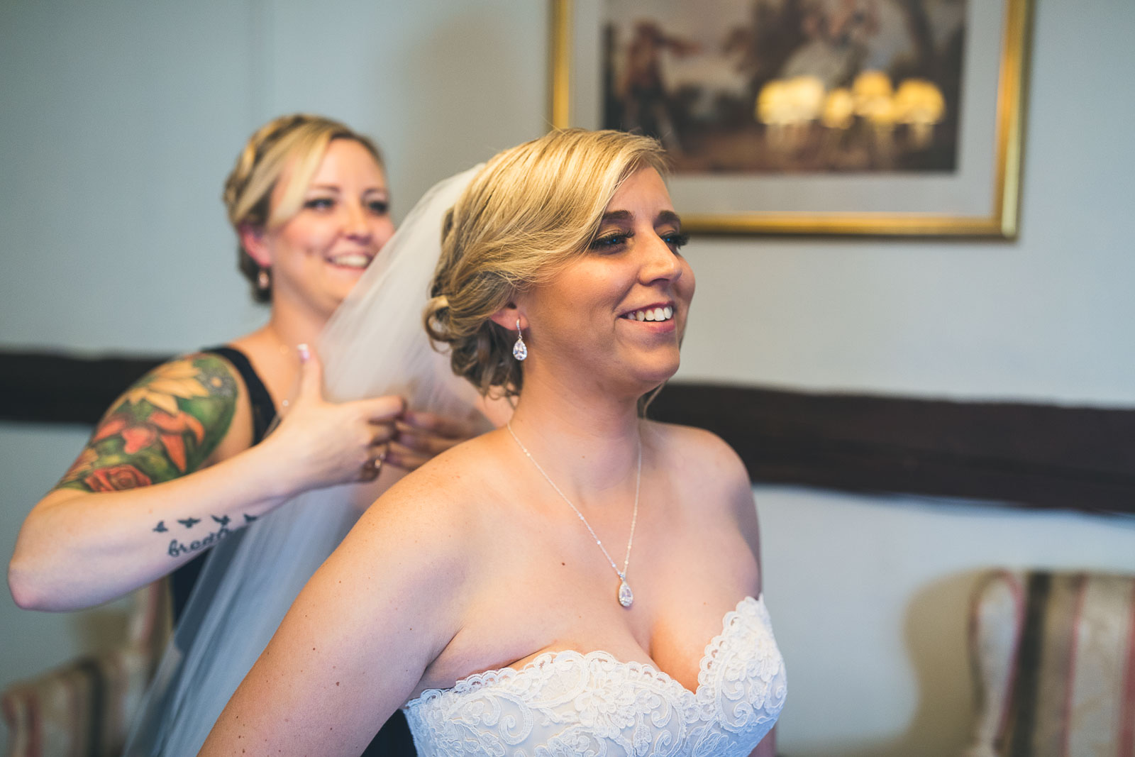 Bride Getting Vail On