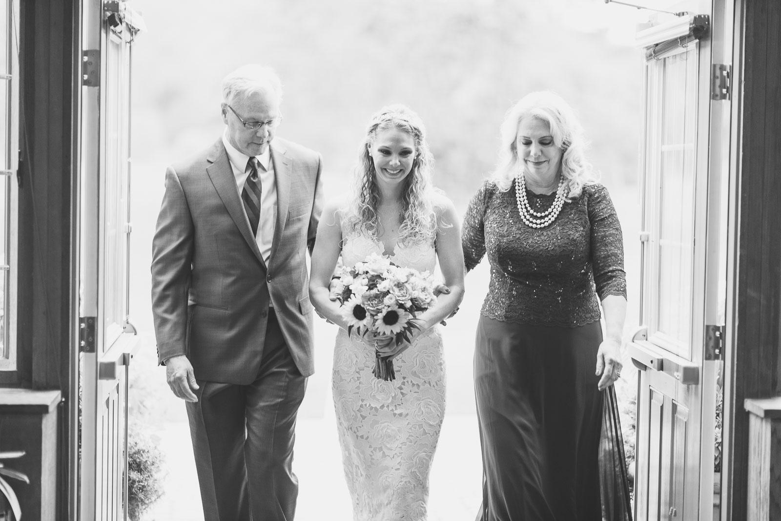 Bride enters with parents