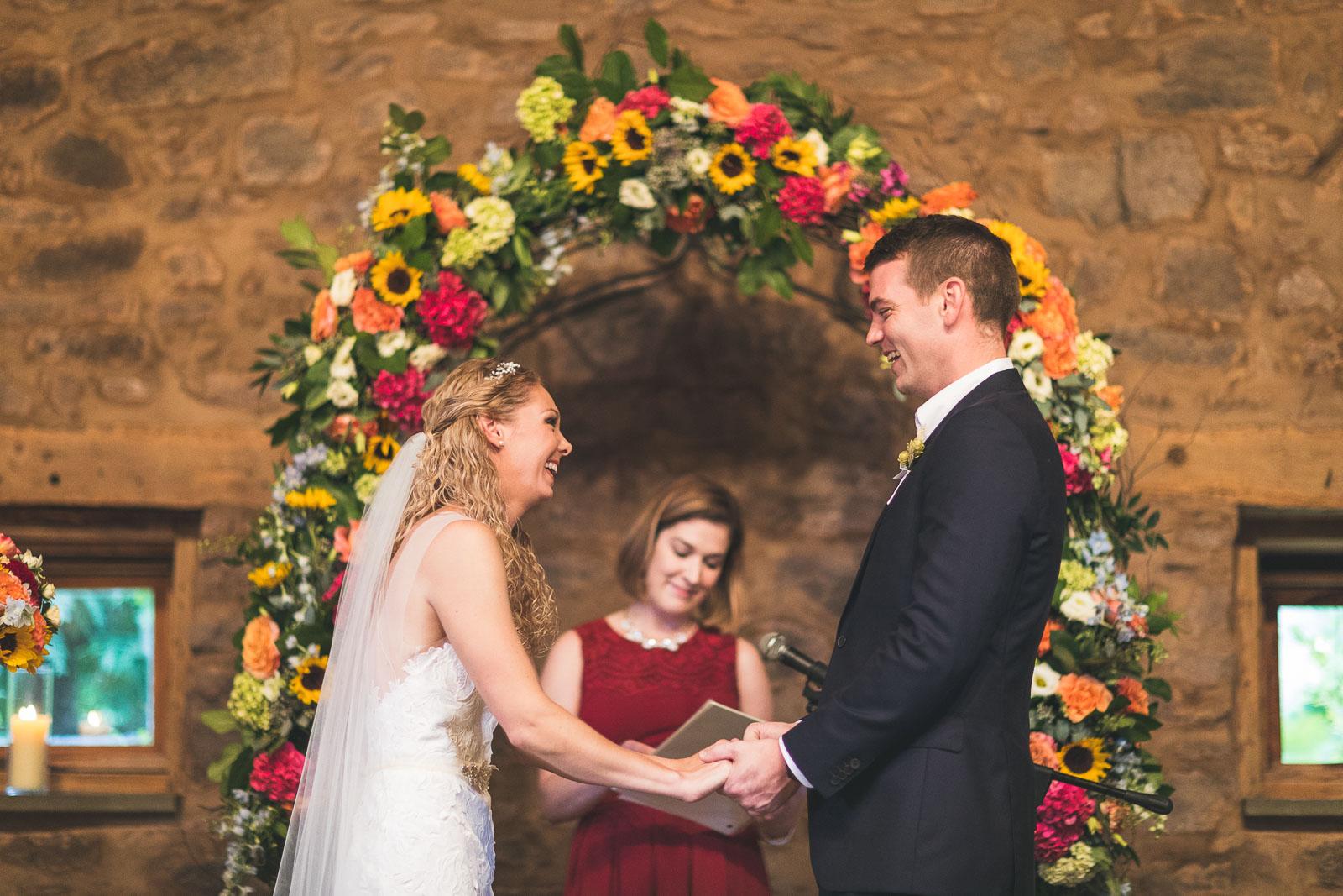 Willowwood Arboretum Wedding Ceremony Laughing