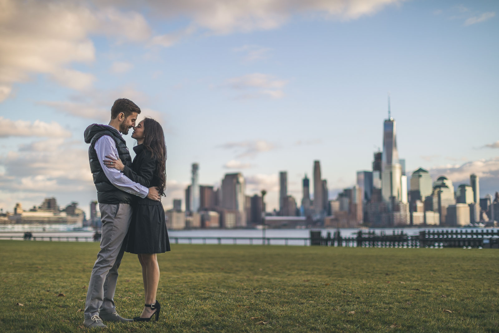 New York City Skyline Engagement Photo