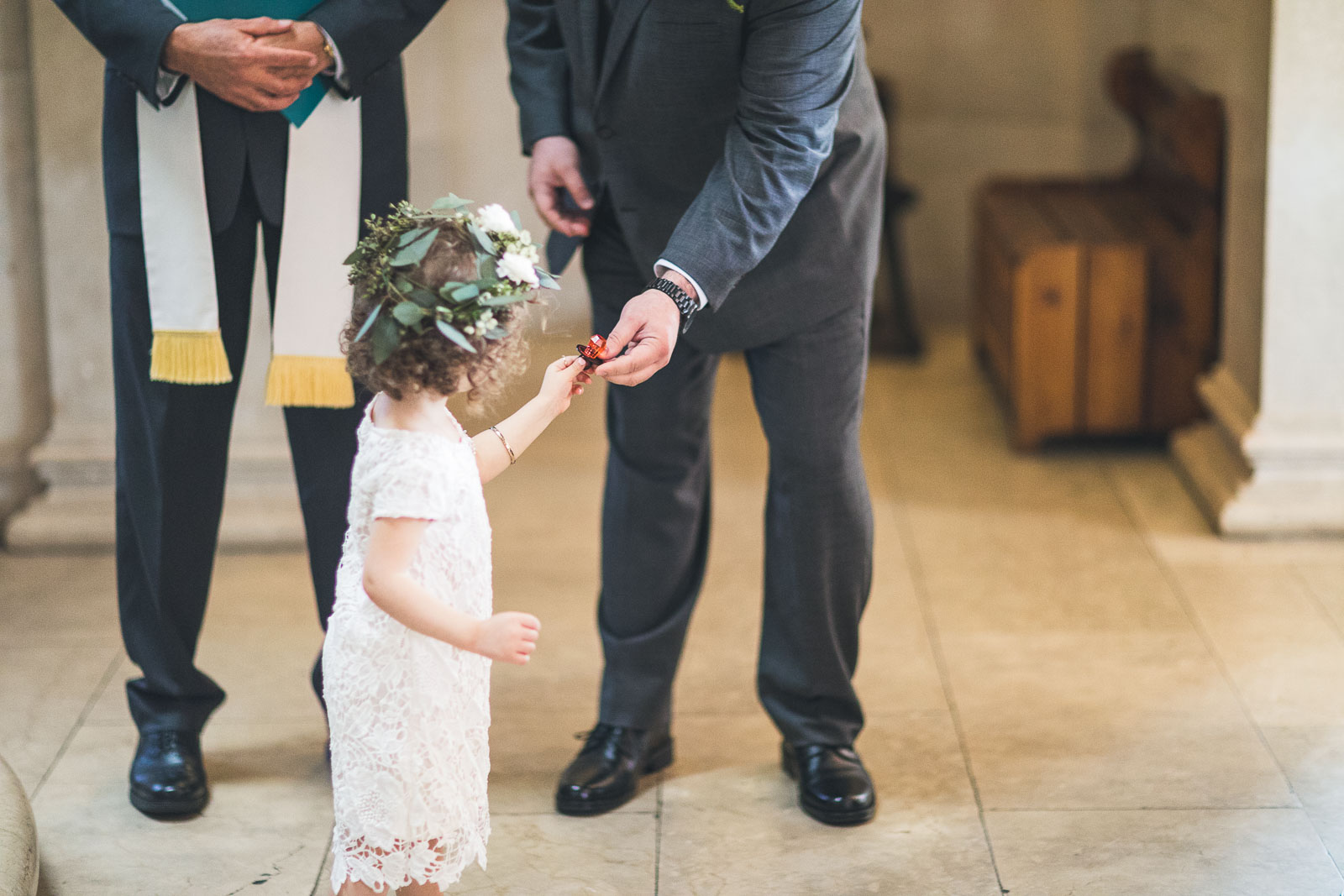 Groom gives his daughter a fancy ring pop