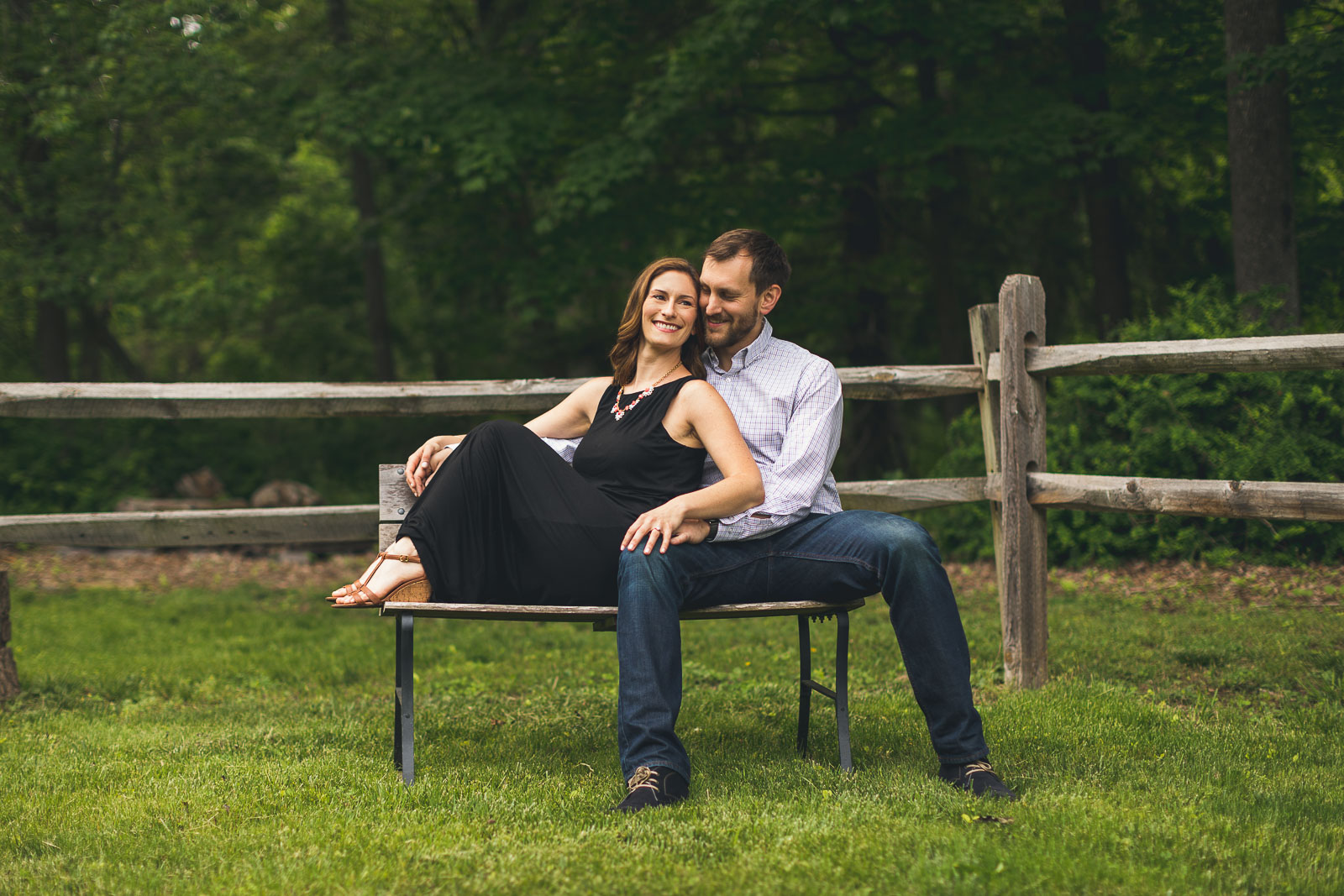 Bench Engagement Photography