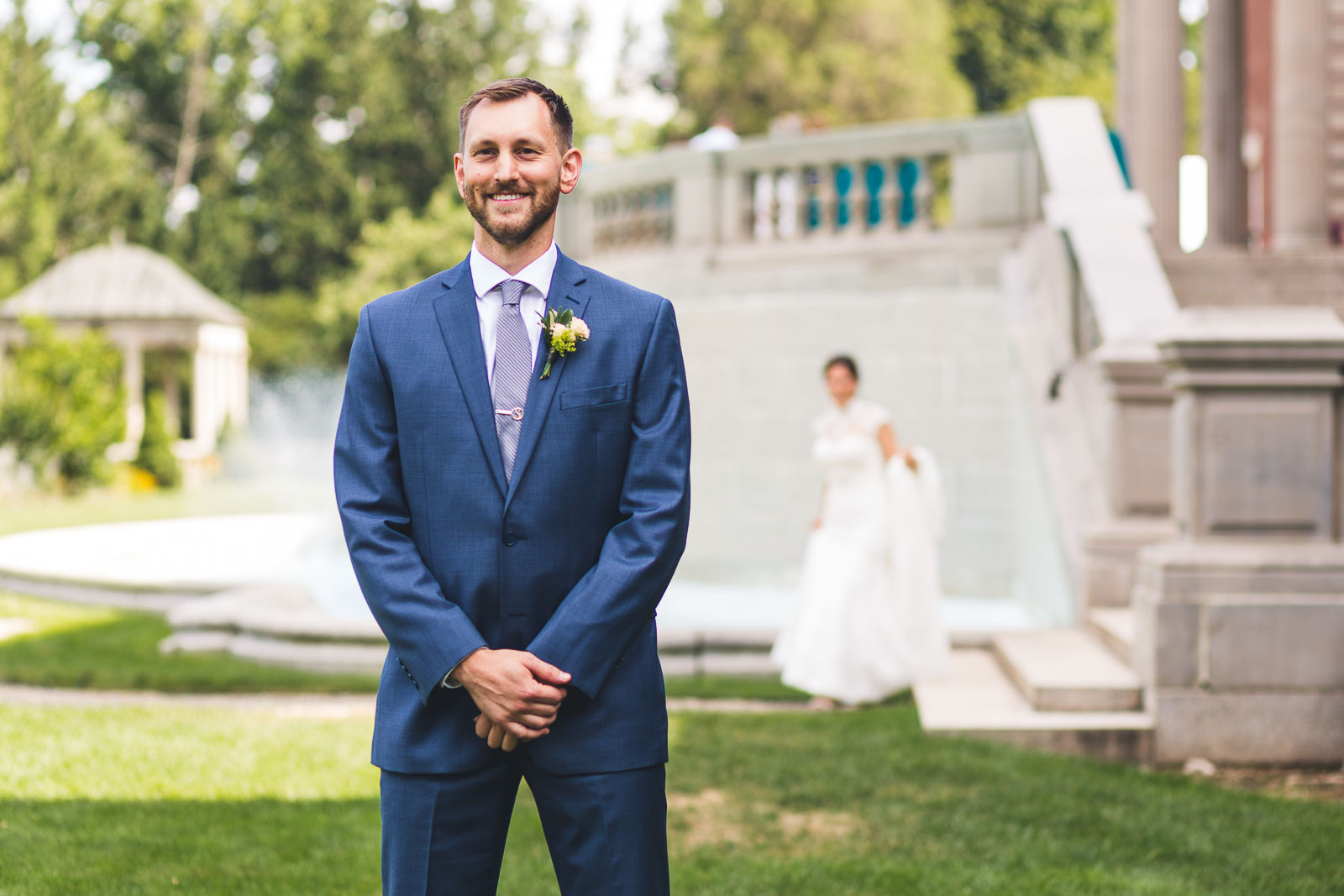 Groom waits for Bride for First Look