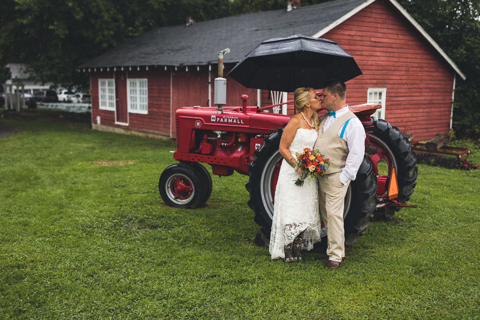 NJ Farm Wedding Tractor