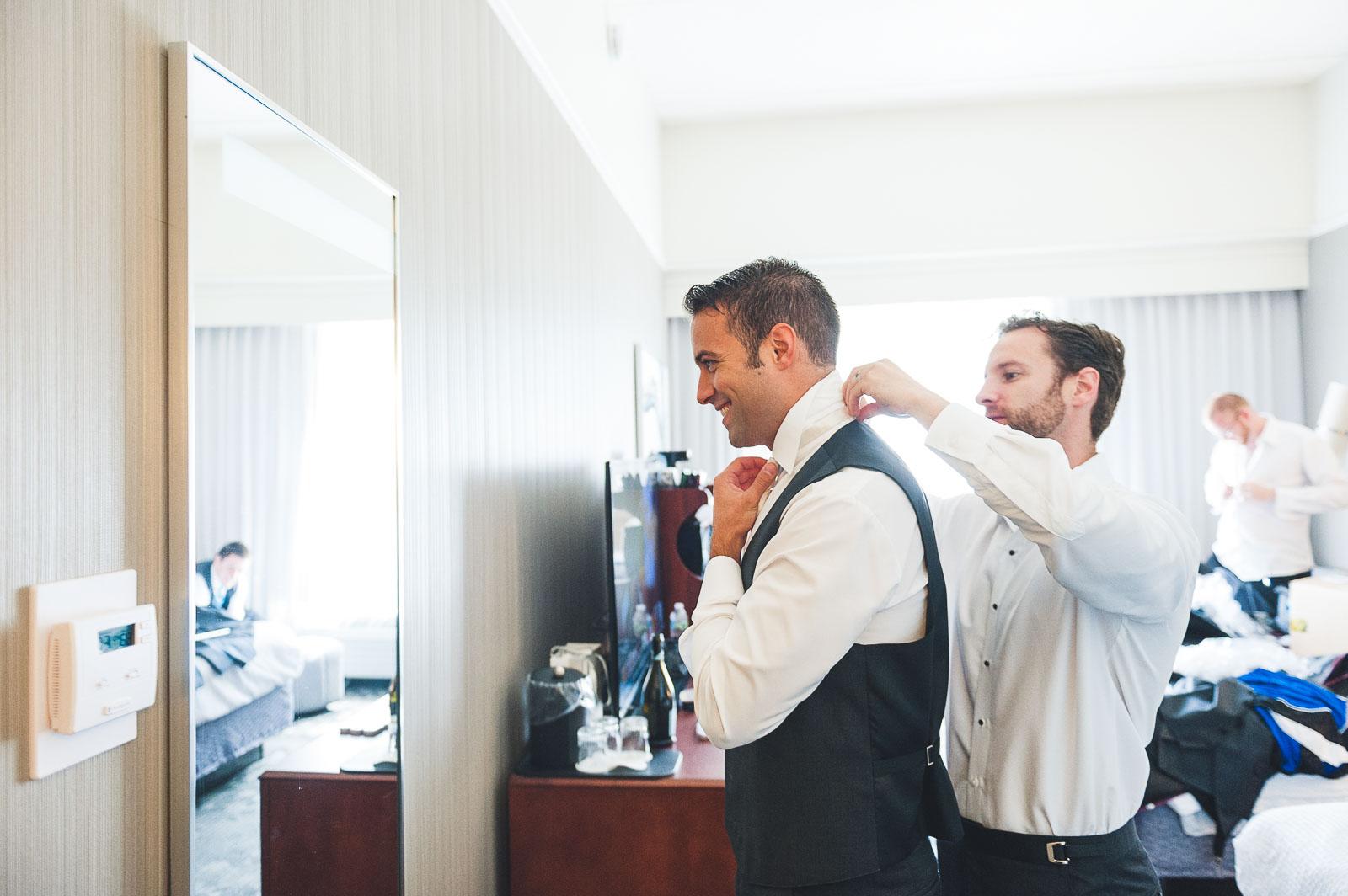 Groom gets help with tie