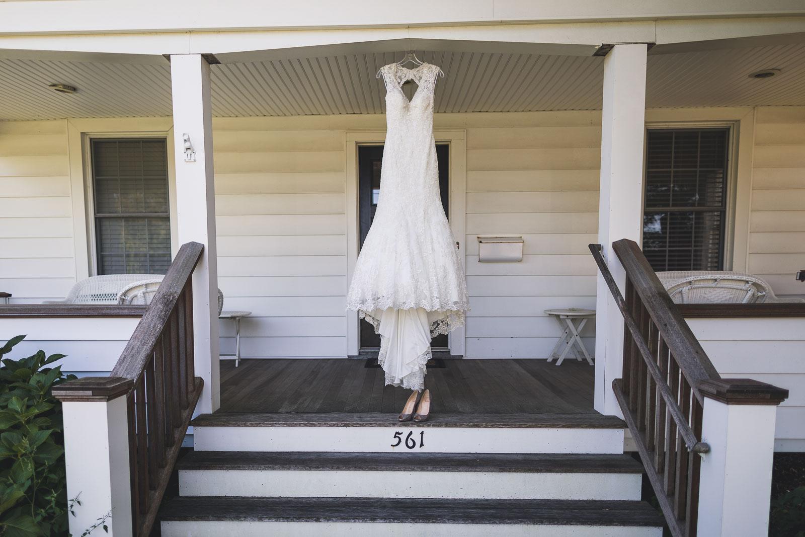 Brides Dress on Porch
