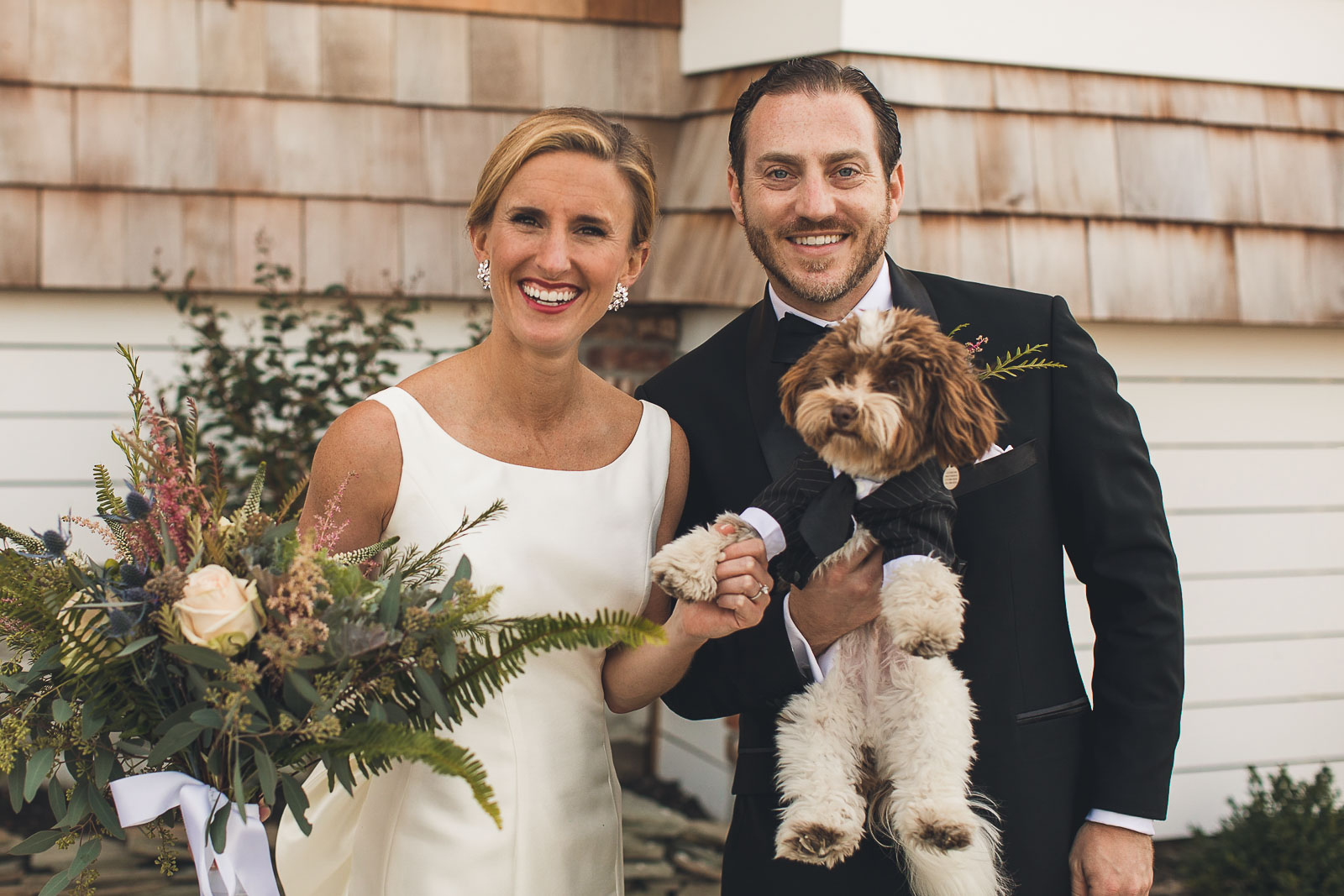 Wedding Portrait with puppy