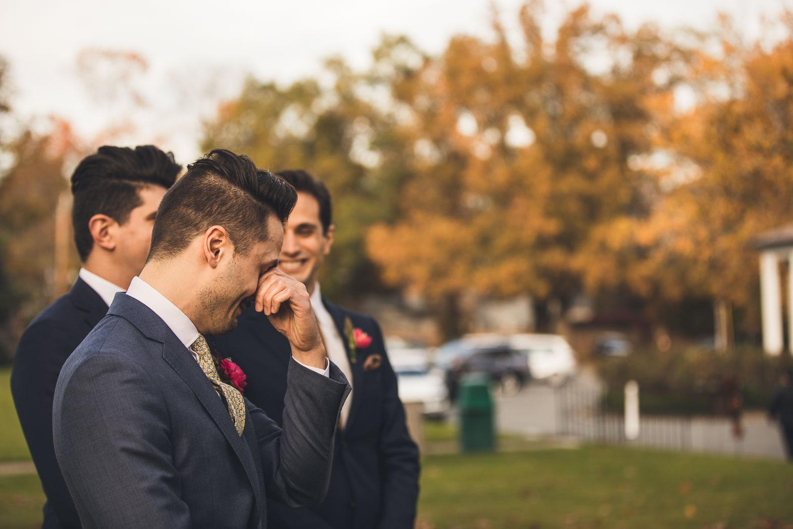 Groom chokes up seeing bride NJ Wedding