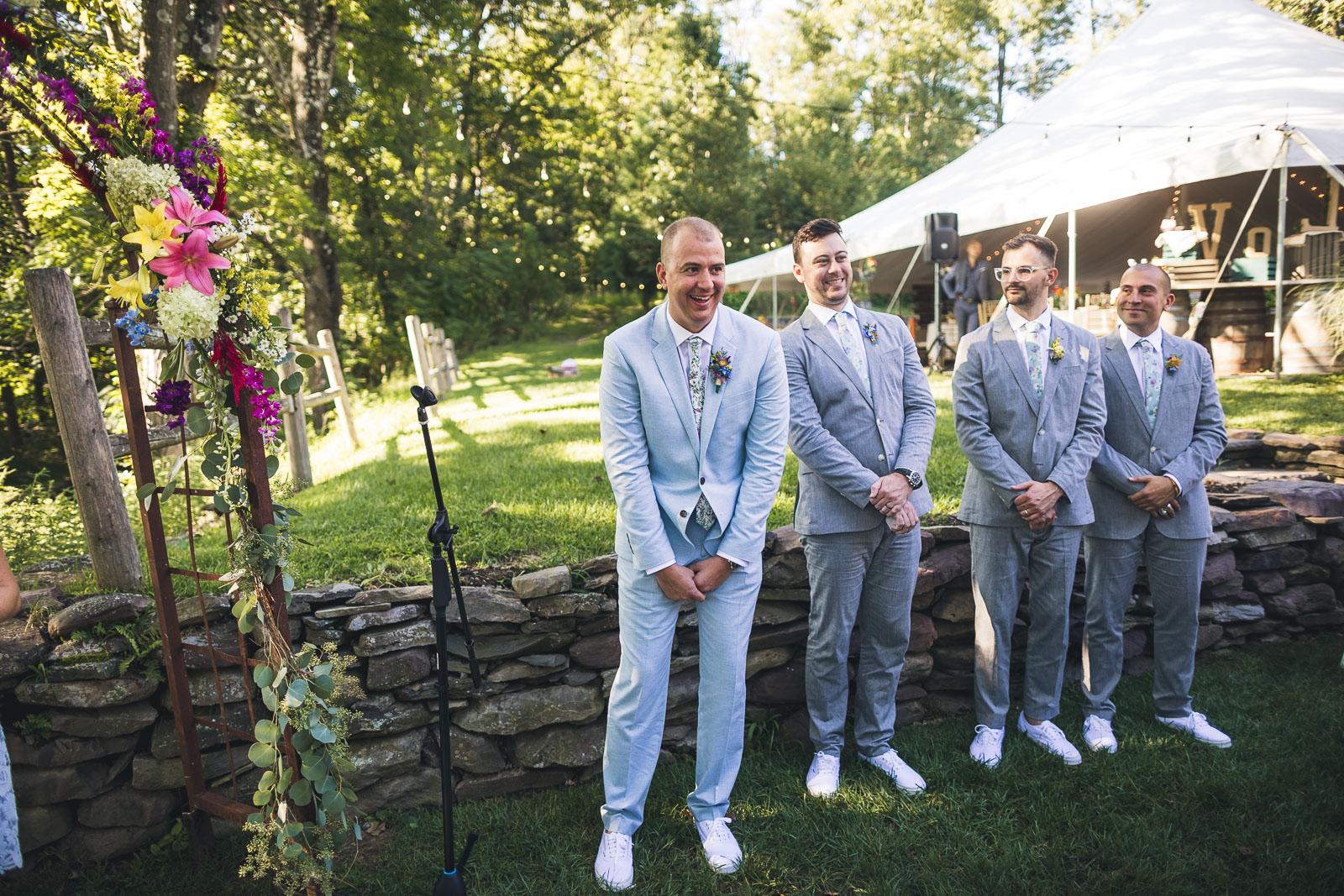 Groom Reaction Wedding Inn at Millrace Pond
