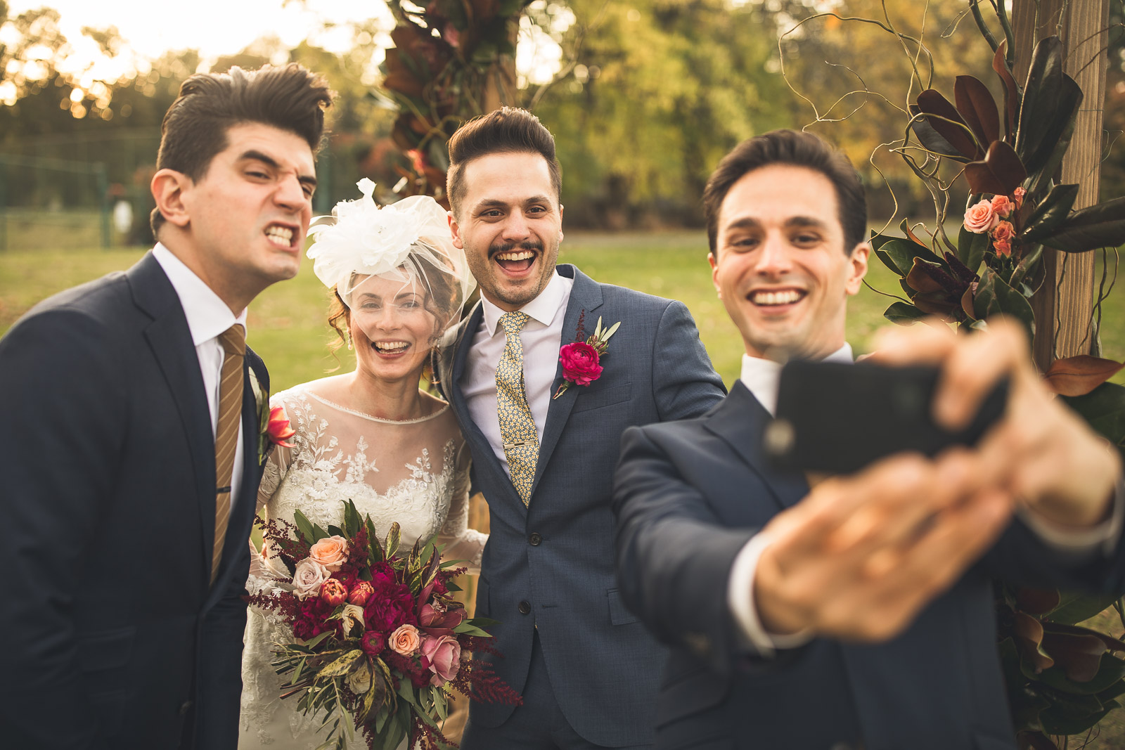 Brothers take a selfie on the wedding day