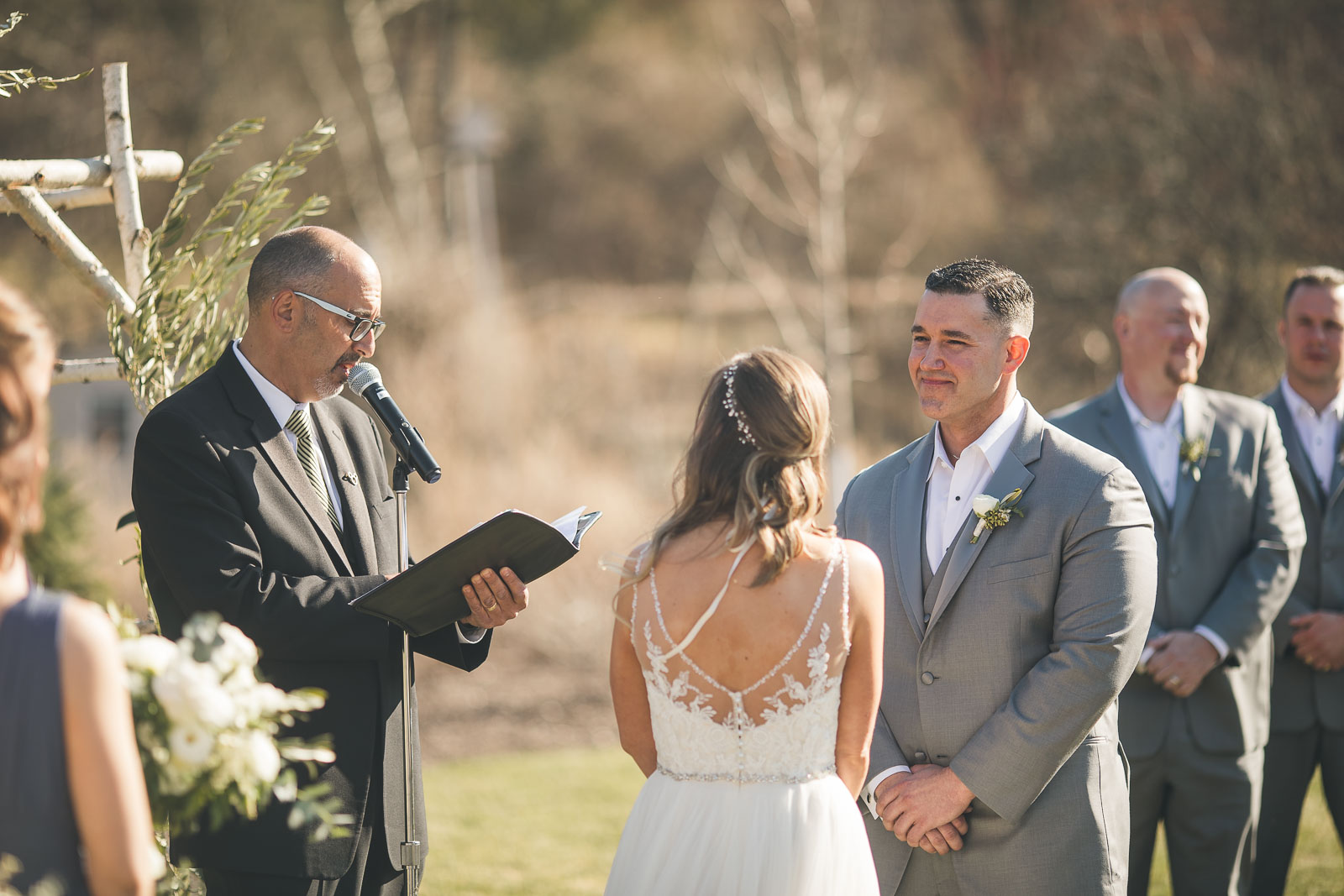 Groom Smiles During Ceremony