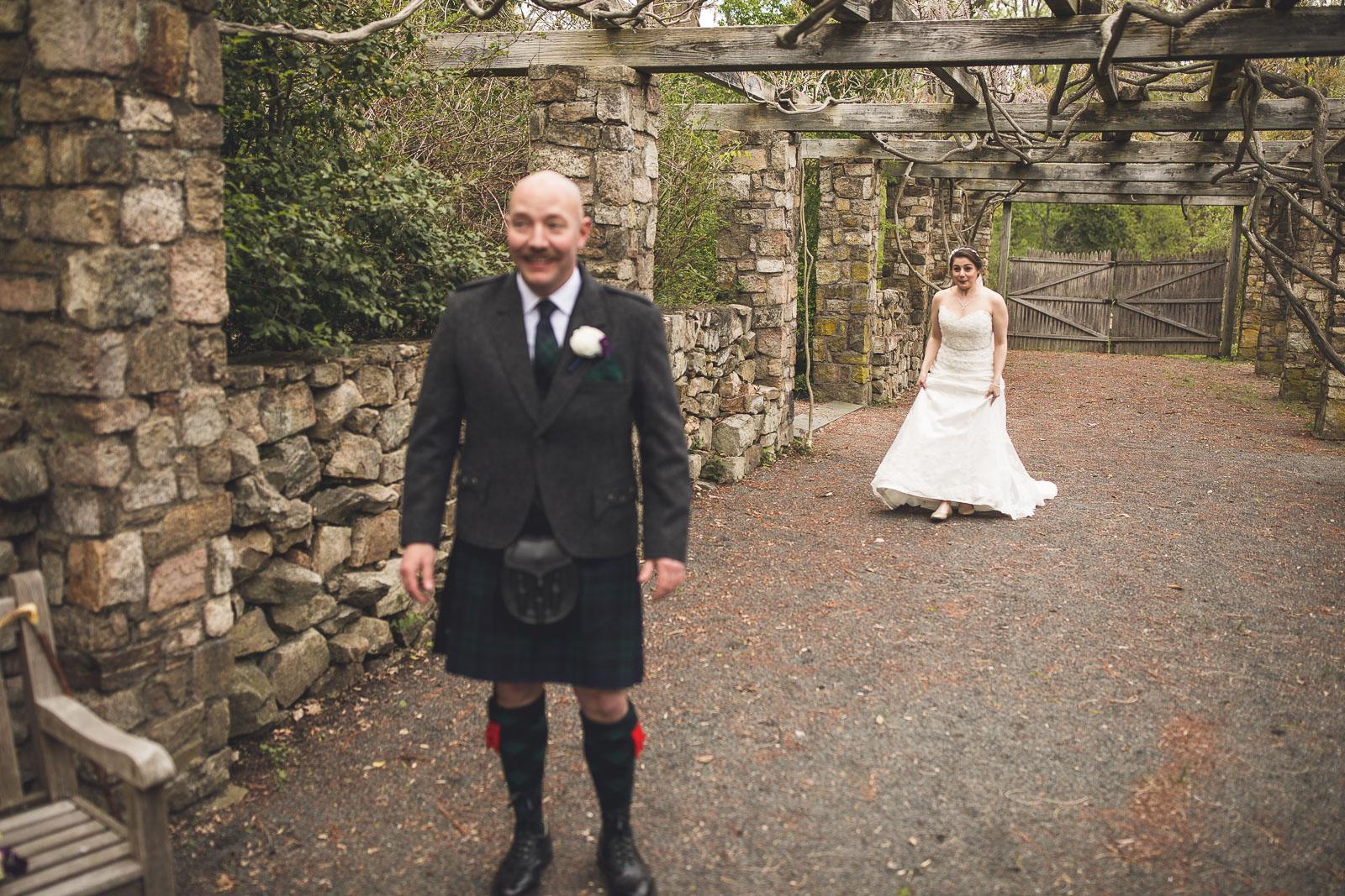 Bride stalking groom