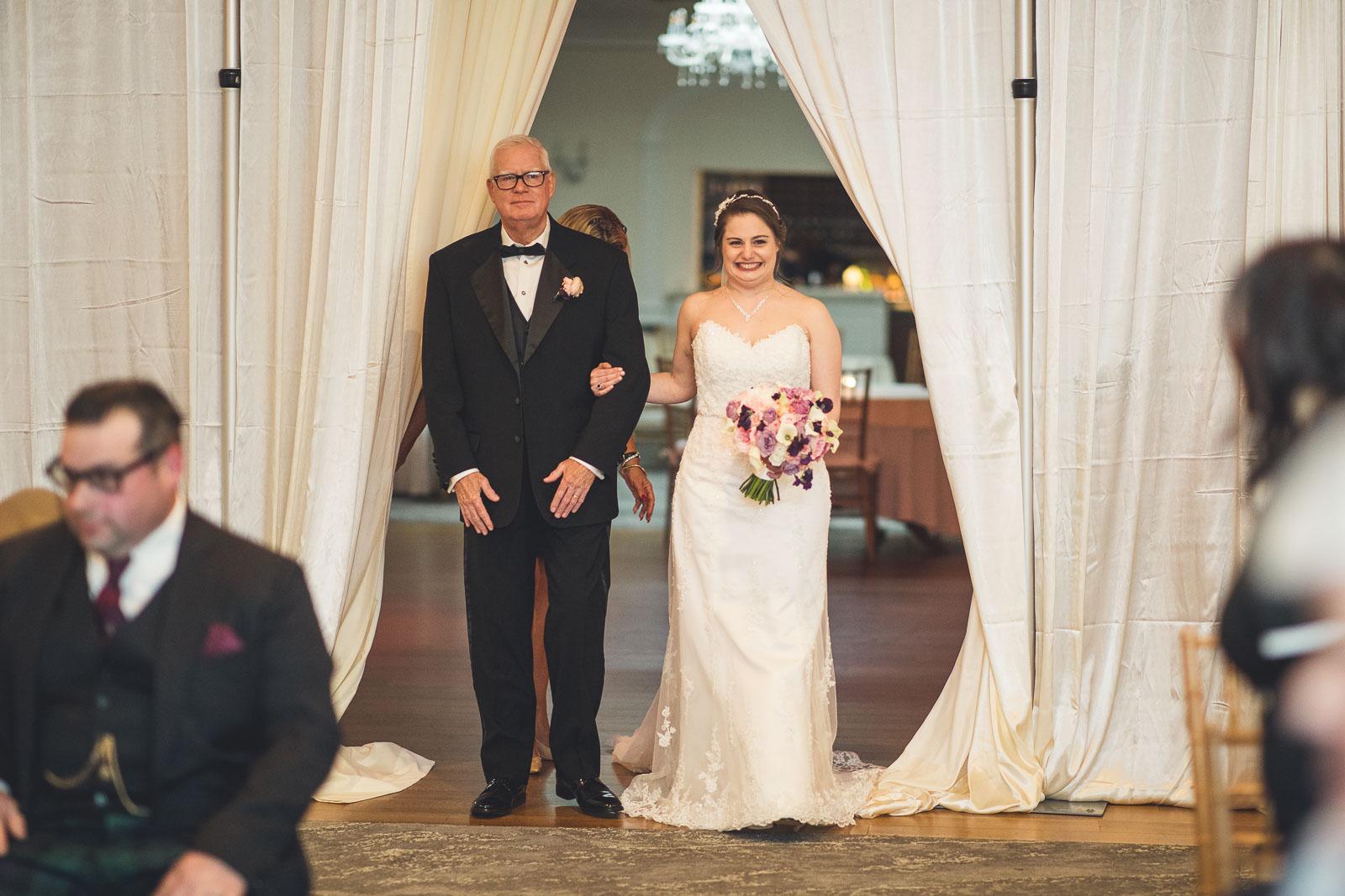 Bernards Inn Bride walking down aisle