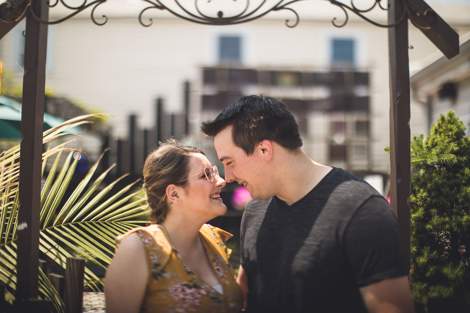 Clinton NJ Garden Engagement Photo