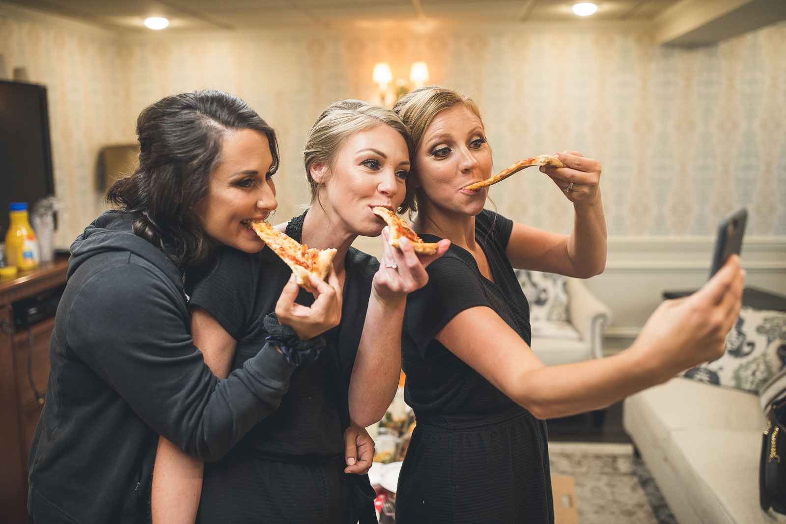 Bridesmaids Eating Pizza