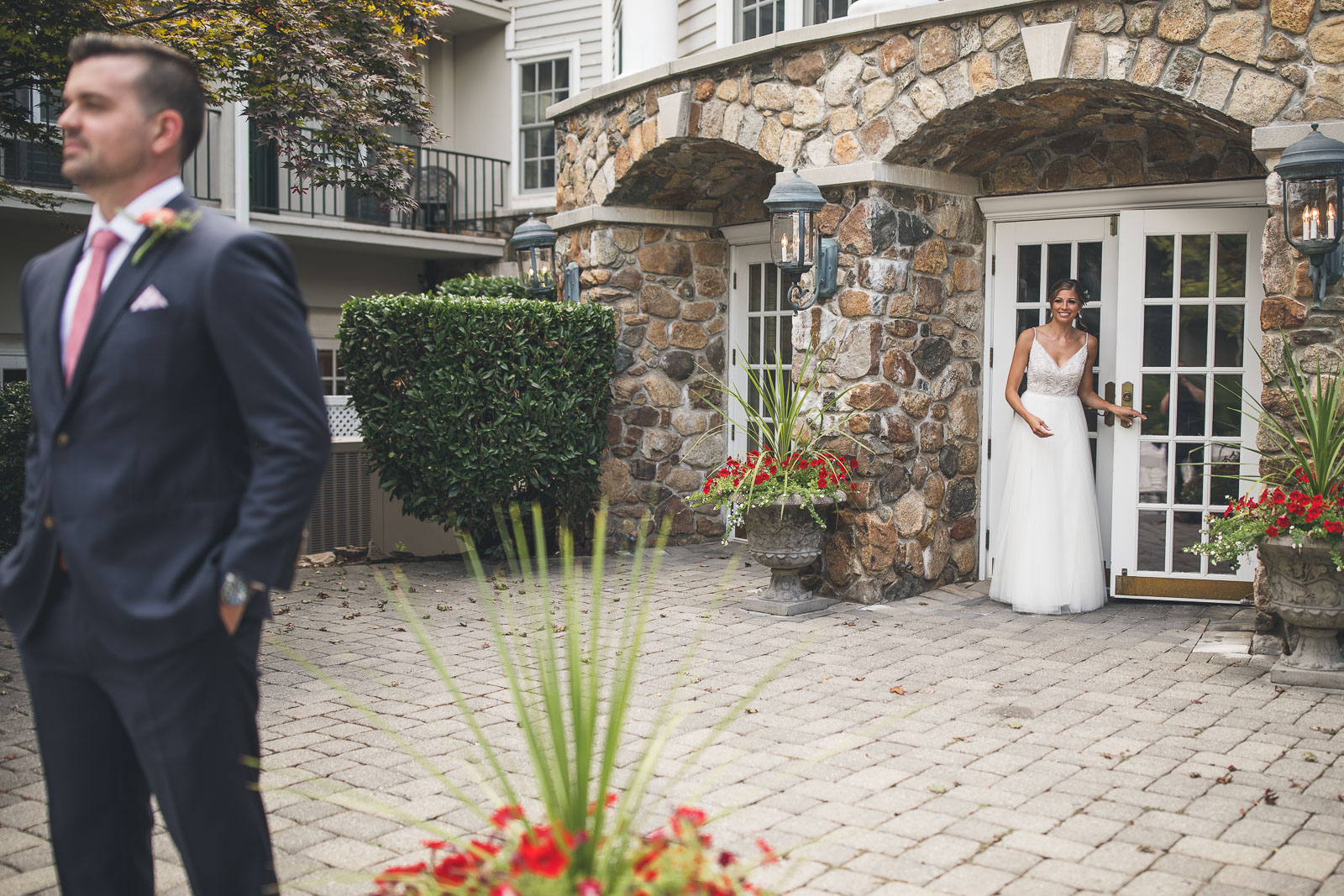 First Look Olde Mill Inn Wedding