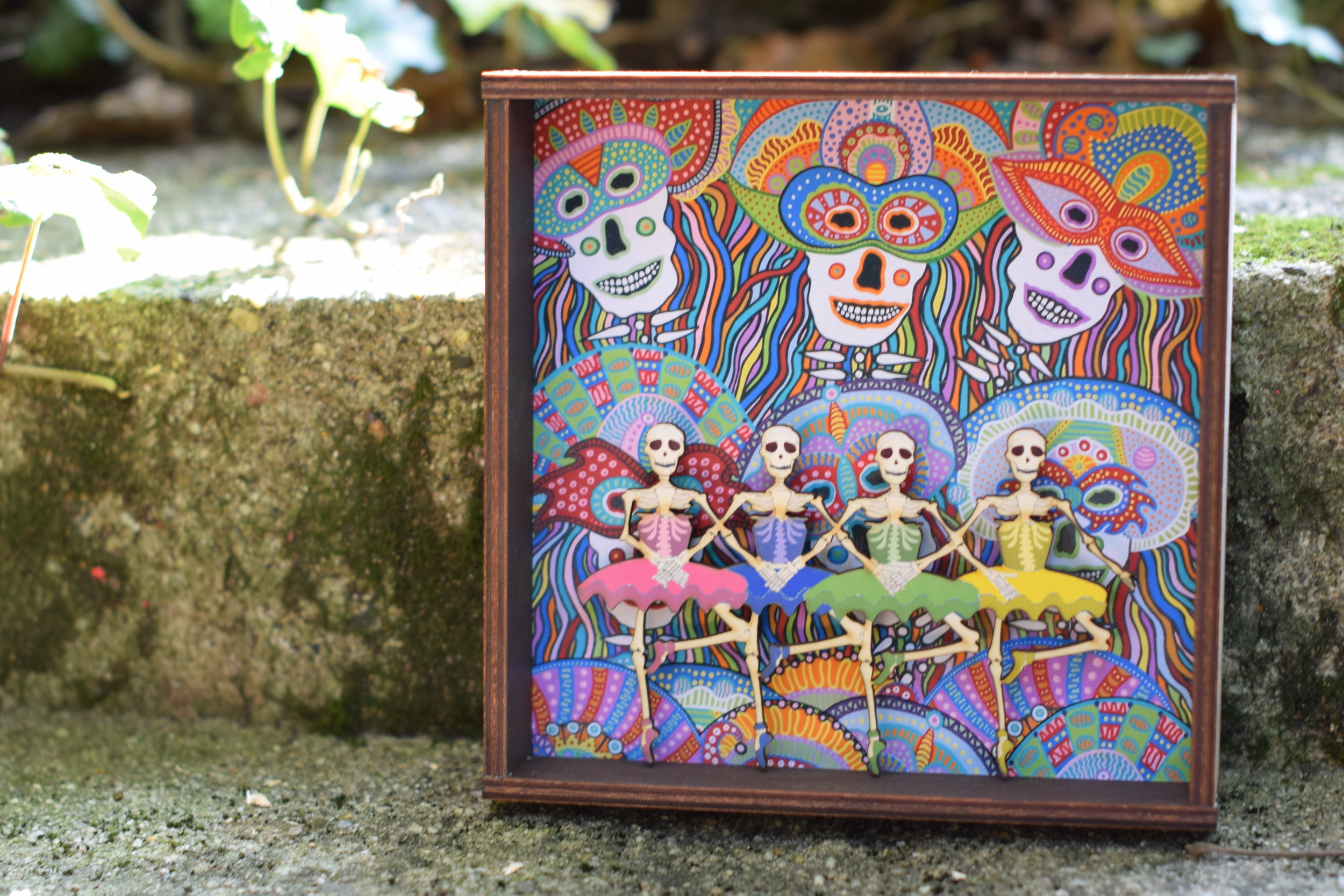 Halloween Shadow Boxes by Roadside Linen Arts of Philadelphia PA - interested in Halloween home ideas for 2018? Check out these indoor Calaveras skeletons created by Pennsylvania Artist Karen Bice, priced $32-36.
