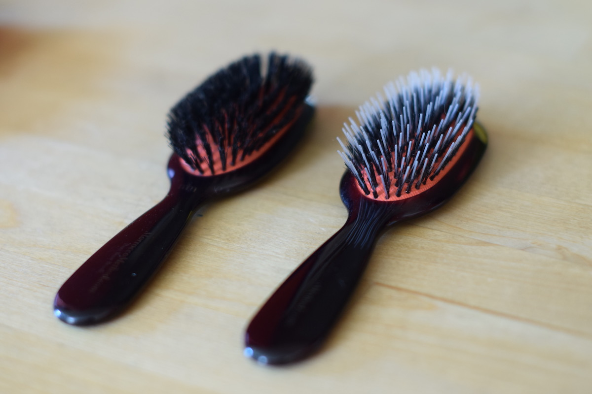 The Best Boar Bristle Hair Brushes // Thoughts On Morrocco Method Brushes Photo: Travel Size Pure Boar Bristle Brush vs Travel Size Mixed Nylon Boar Bristle Brush