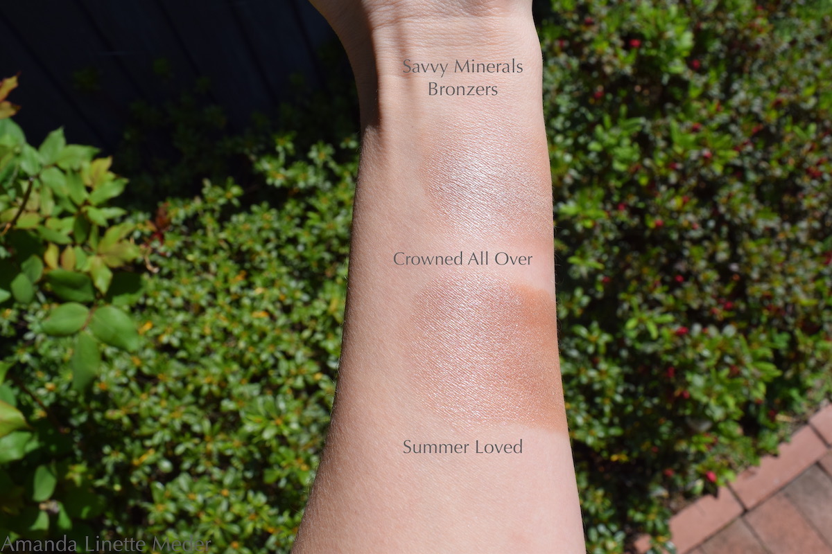 Young Living // Savvy Minerals Bronzer and Glitter Powder Swatches, Crowned All Over Swatch and Summer Loved Swatches Photo Amanda Linette Meder