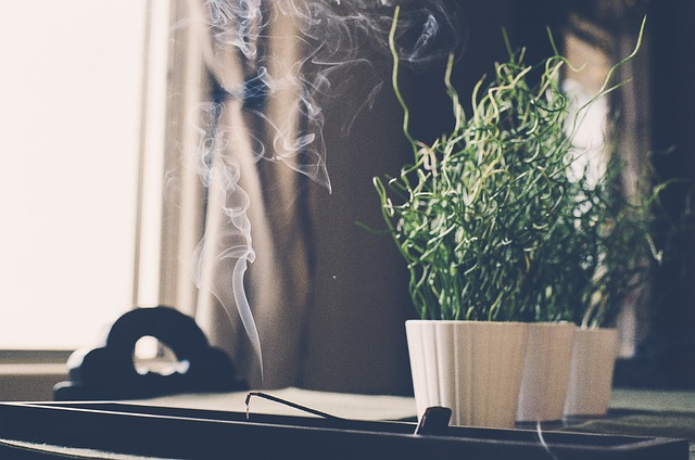 Scent can help a dog transition. Incense on a desk. Image by  JayMantri  from  Pixabay