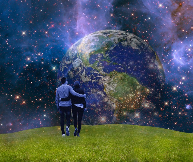 Image of a couple walking in a heavenly landscape with Earth in the distance. Image by  beate bachmann  from  Pixabay .