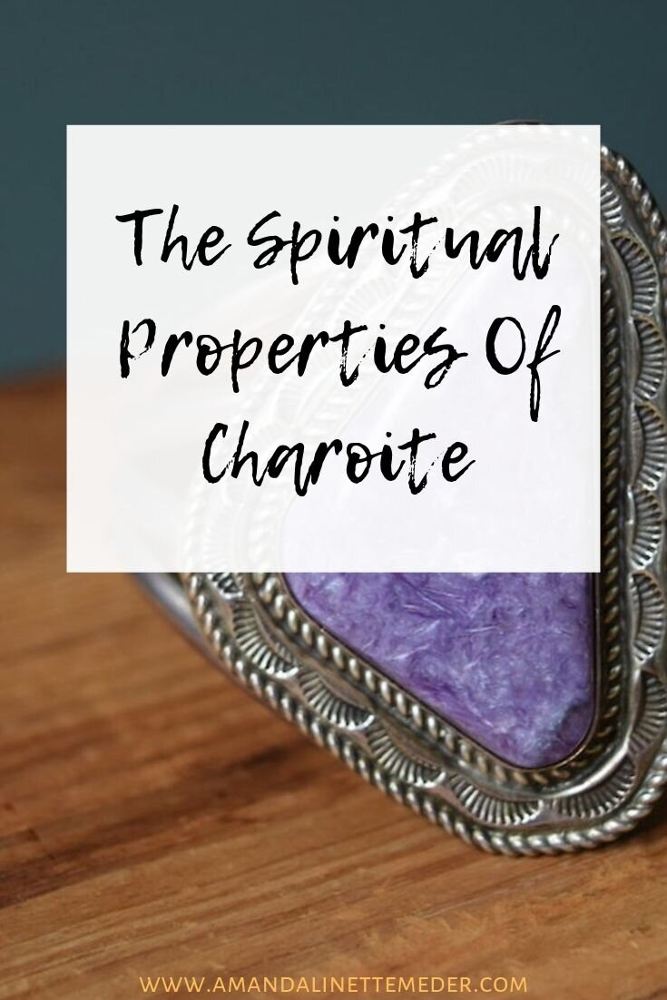 The Spiritual Meaning of Charoite - Image: Amanda Linette Meder of Charoite bracelet with text overlay.