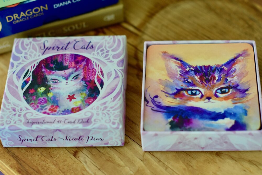Photo of Spirit Cats Inspirational Card Deck cover next to Adventure Spirit Cat art by Amanda Linette Meder