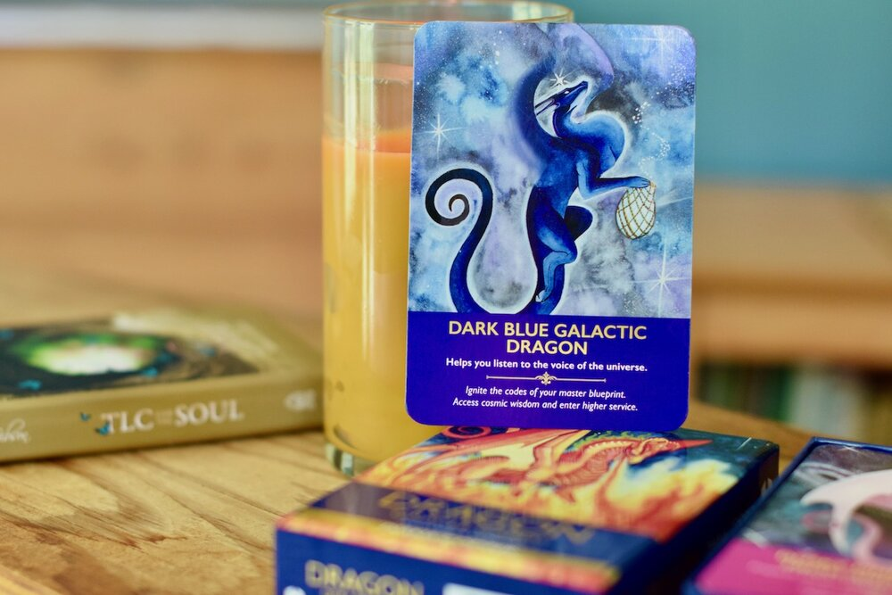 Photo of Dark Blue Galactic Dragon of the Dragon Cards art by Amanda Linette Meder