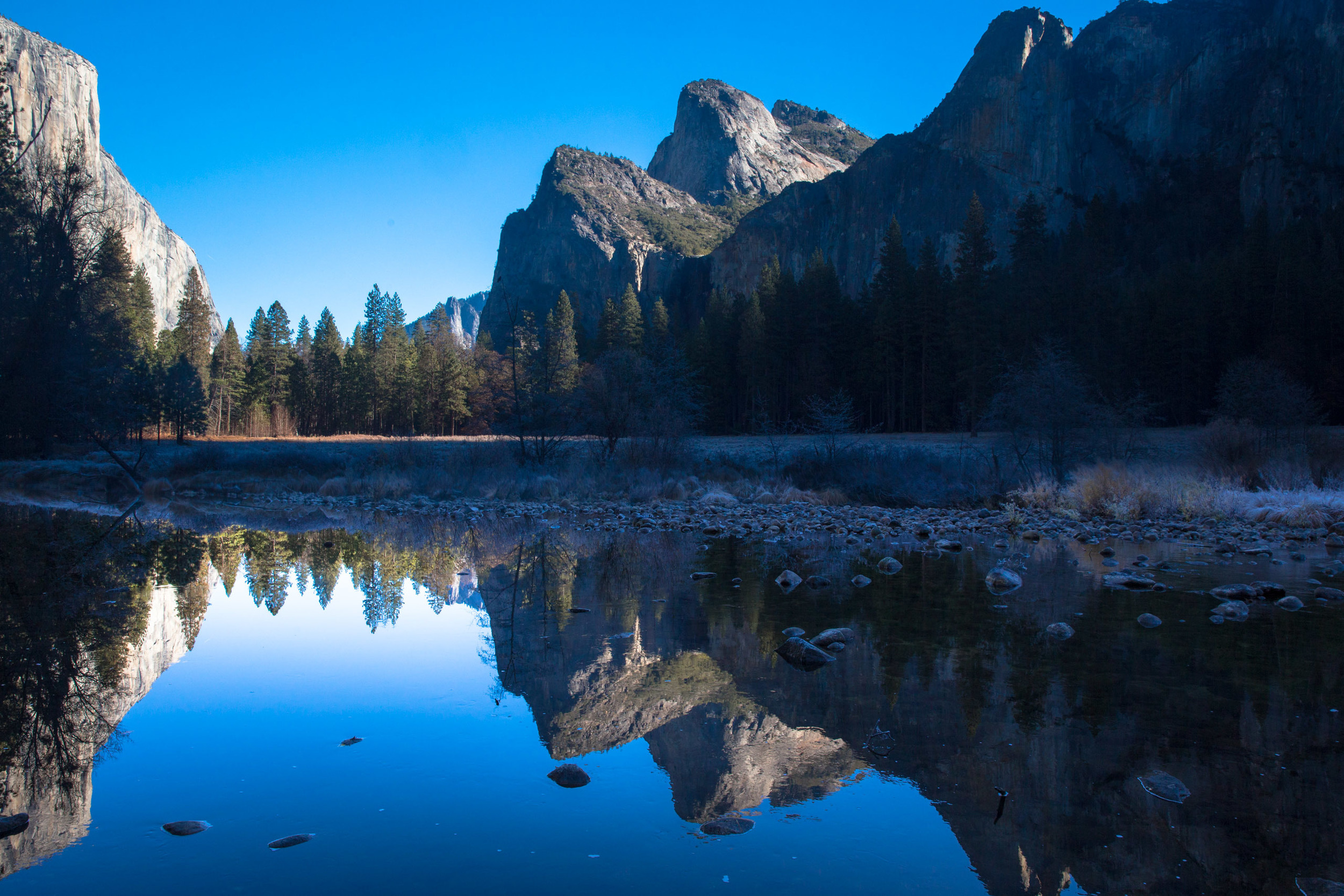 Yosemite valley. El Capitan on left and a very miserly Bridalveil Fall centre right, taken late Fall.