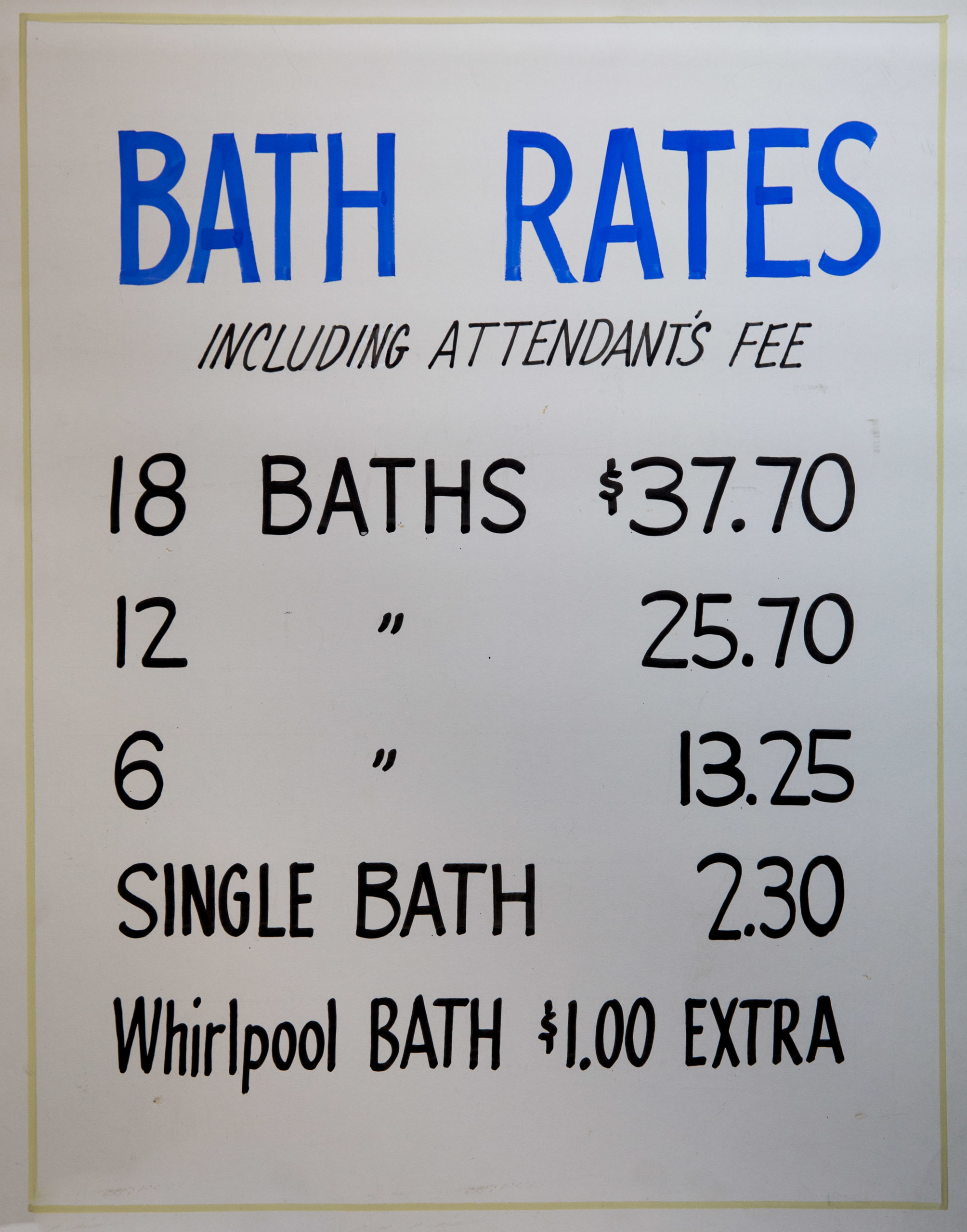 Lamar Bathhouse sign, ca. 1965, in the Fordyce Bathhouse Visitor Centre Museum