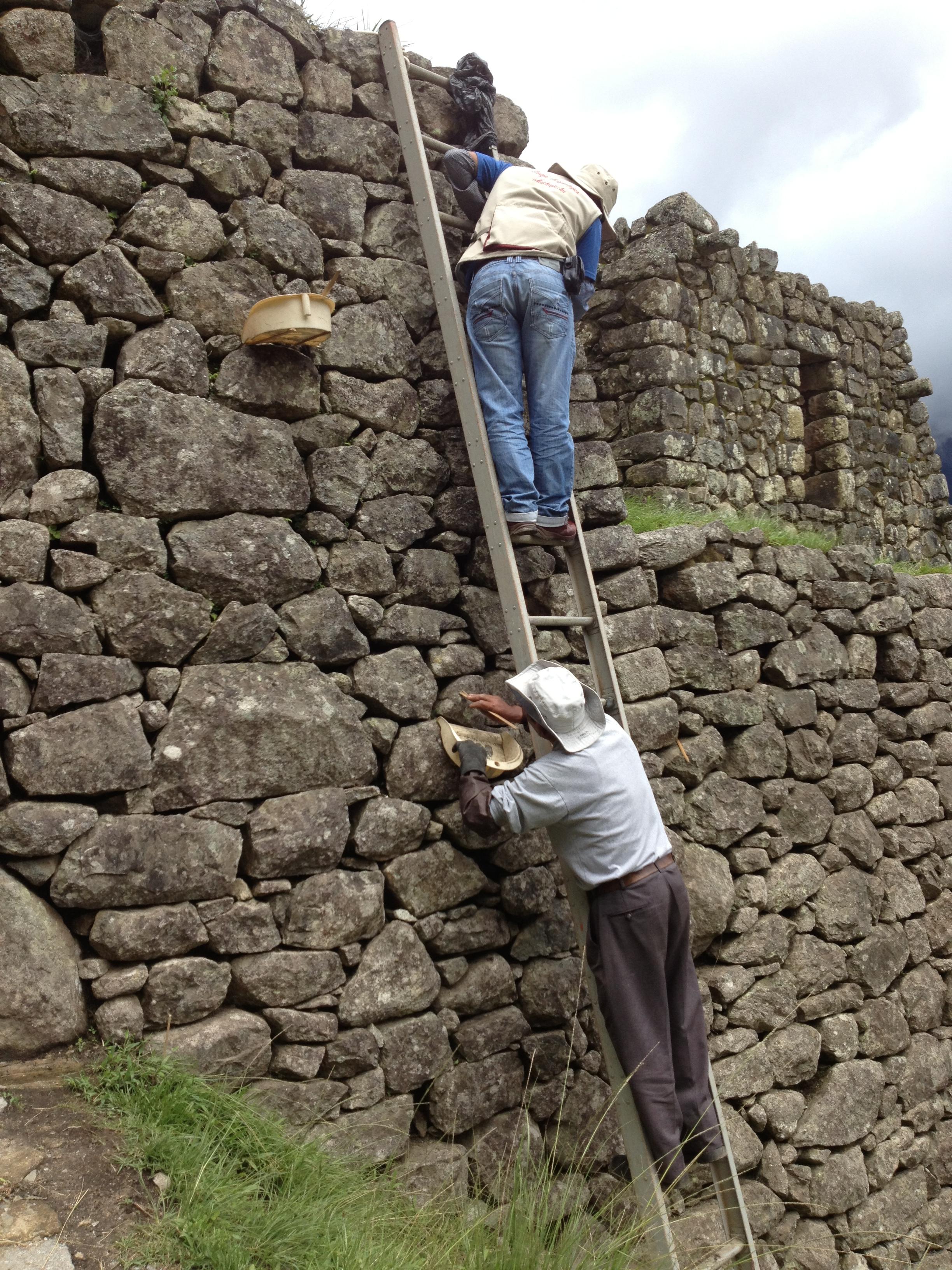 A rock polisher at Machu Picchu