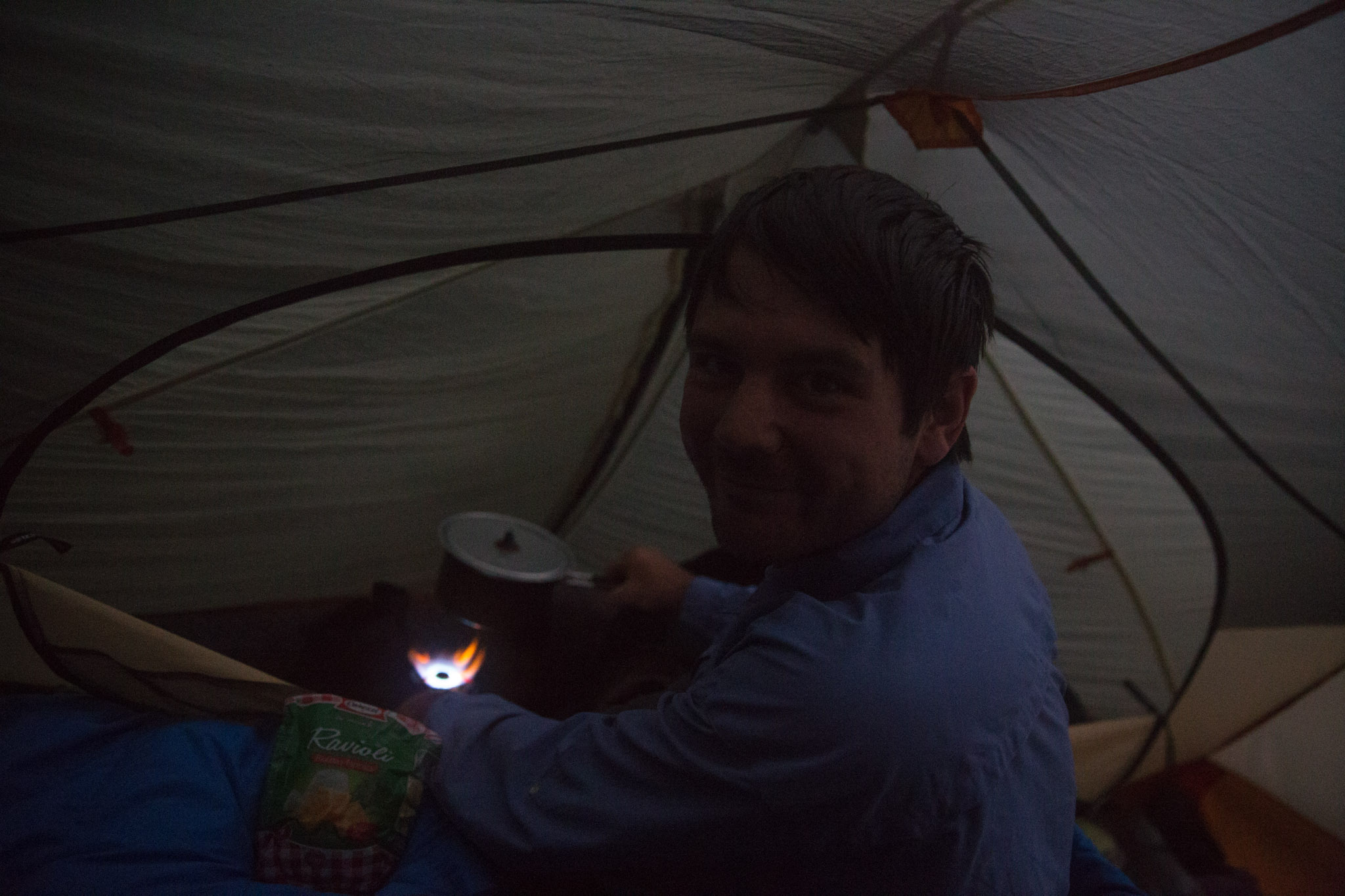 Cooking some soup to warm us up. Our initial concerns about cooking inside the tent from the very start of the holiday are now long gone.