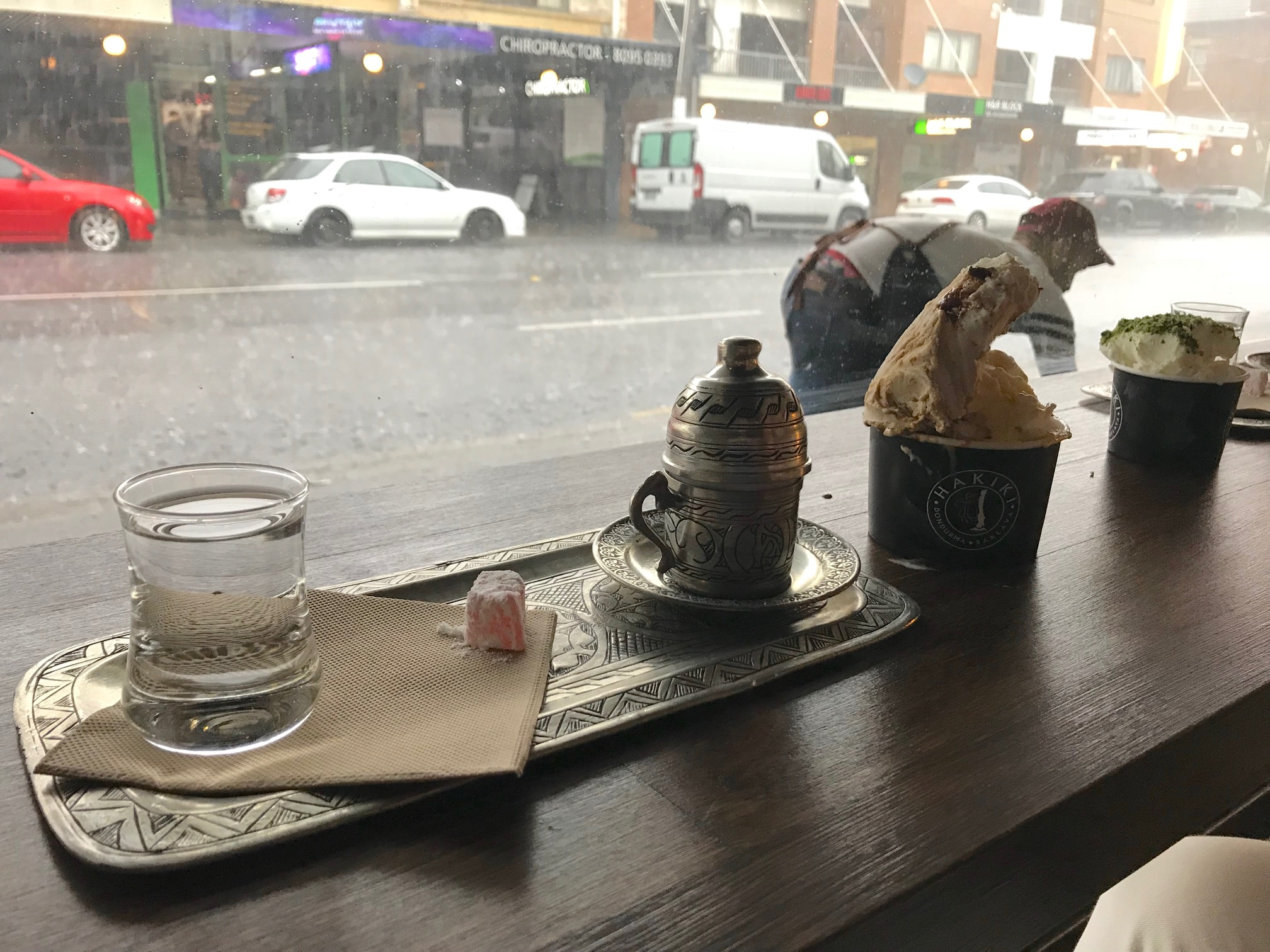 Turkish coffee and ice cream at Hakiki. The sudden downpour was a good excuse for a second helping!