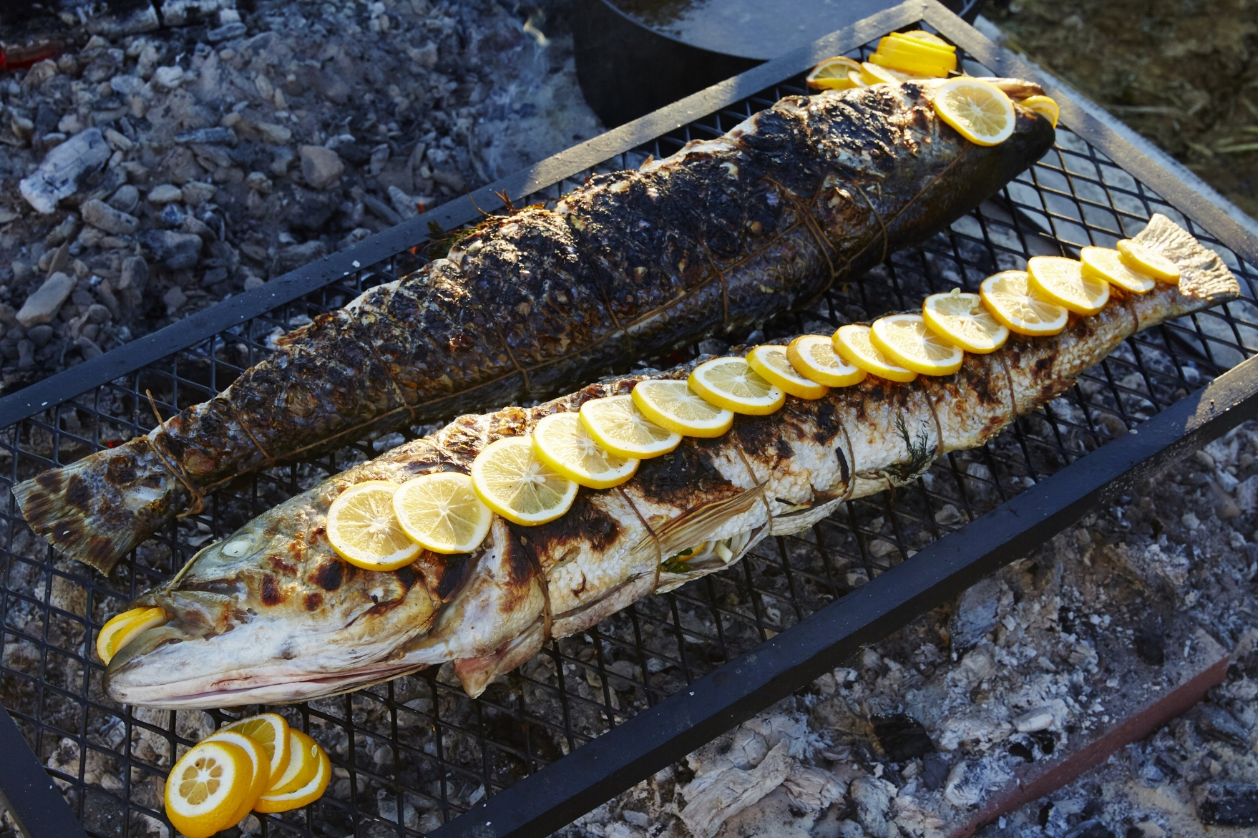 Grilled Stuffed Whole Striped Bass