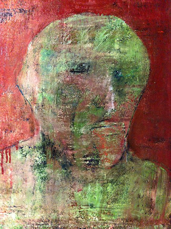 Kopf auf rotem Grund