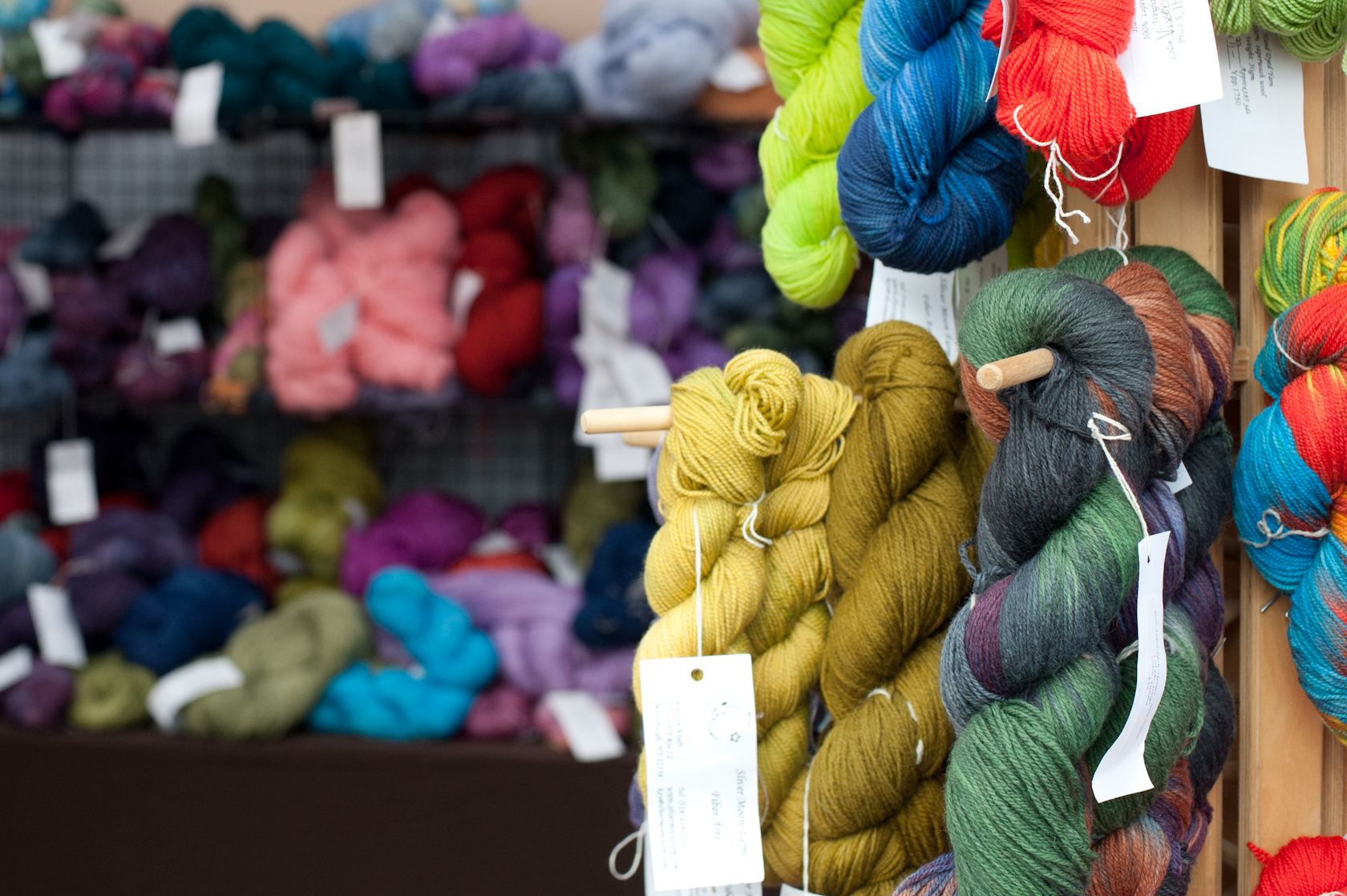 A few hanks of our hand dyed yarn await the crowds at New York State Sheep & Wool Festival.