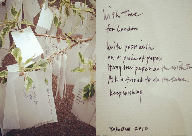 via T he Women's Room  (Yoko Ono's Wishing Tree + Instructions)