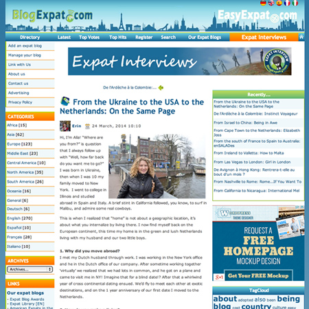 Mar 2014  |   BlogExpat.com   Alla is interviewed on her journey from Ukraine to USA to Amsterdam.