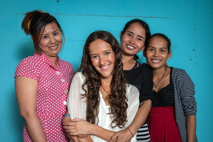 Designer Jessica Hendricks with Nimul, a Cambodian Artisan