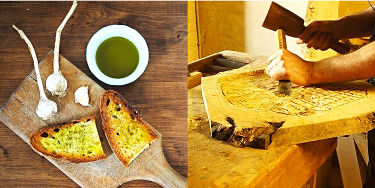 km zero tours, olive oil making and woodworking