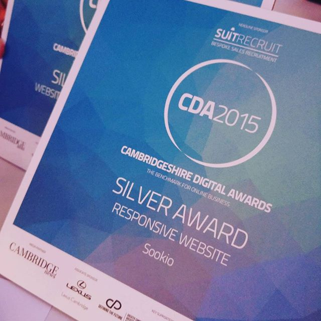 Silver award for Responsive Website, Cambridgeshire Digital Awards 2015